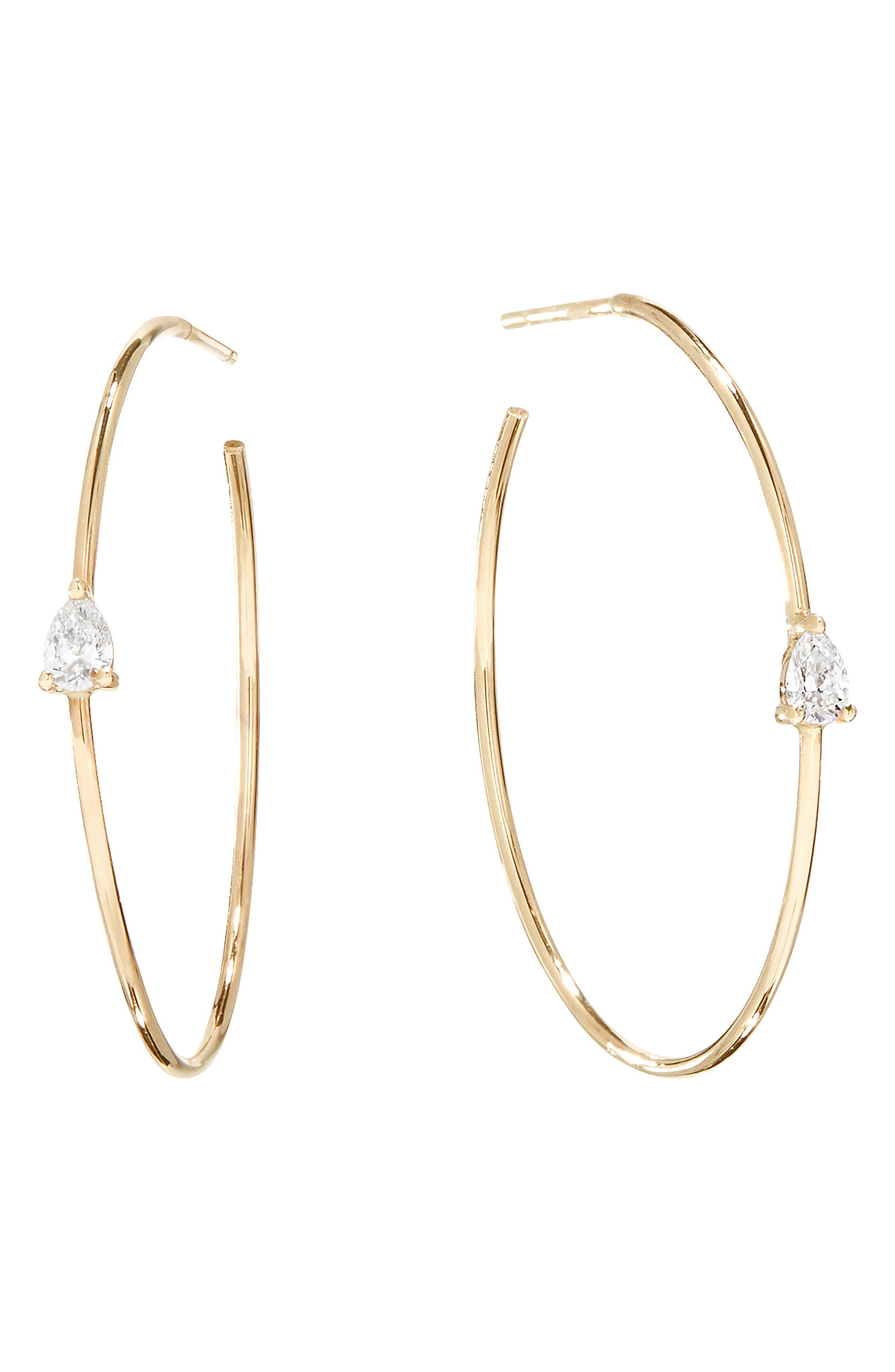 Pear Diamond Hoop Earrings,                         Main,                         color, GOLD