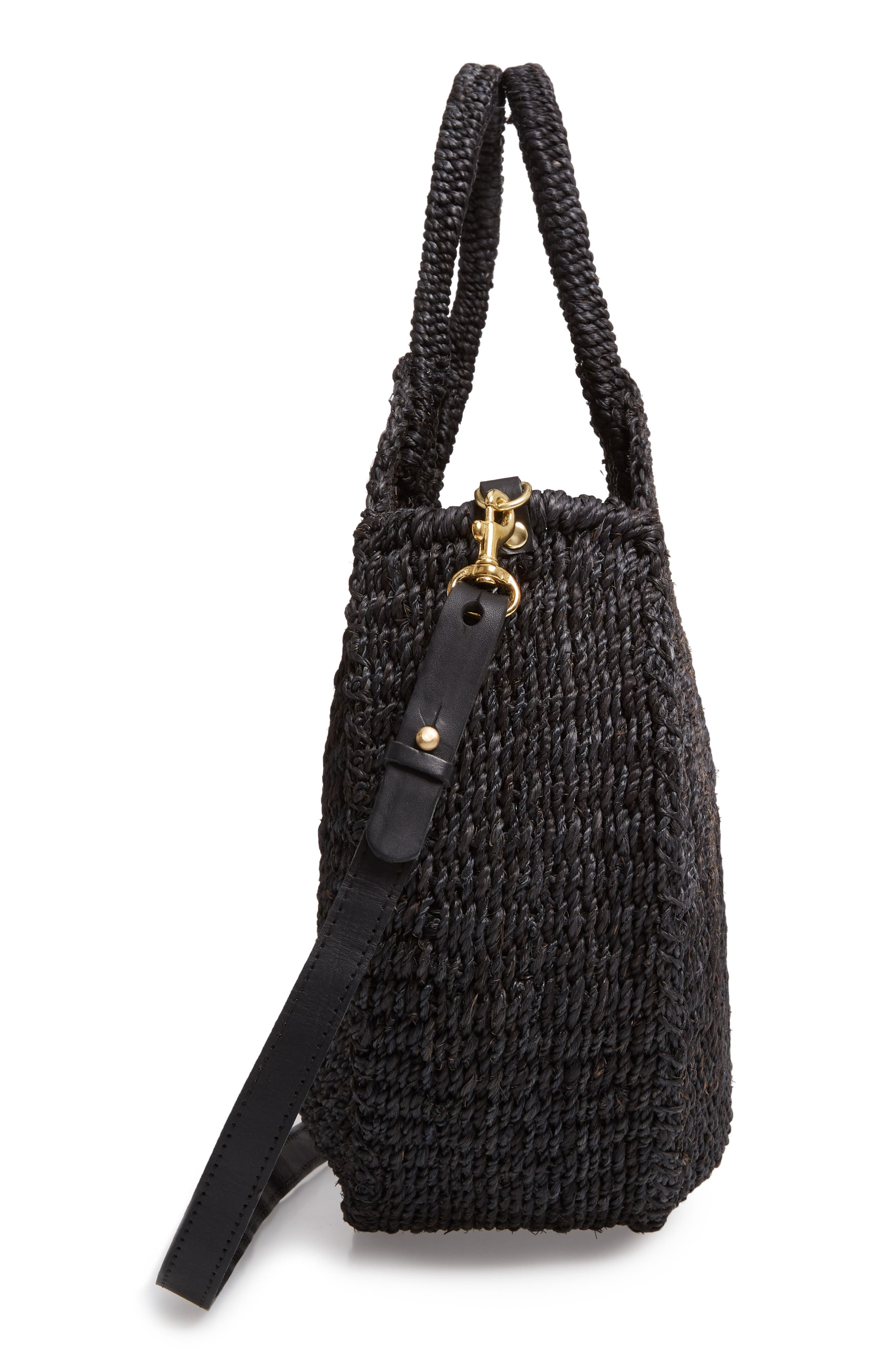 Alice Woven Sisal Straw Bag,                             Alternate thumbnail 5, color,                             BLACK