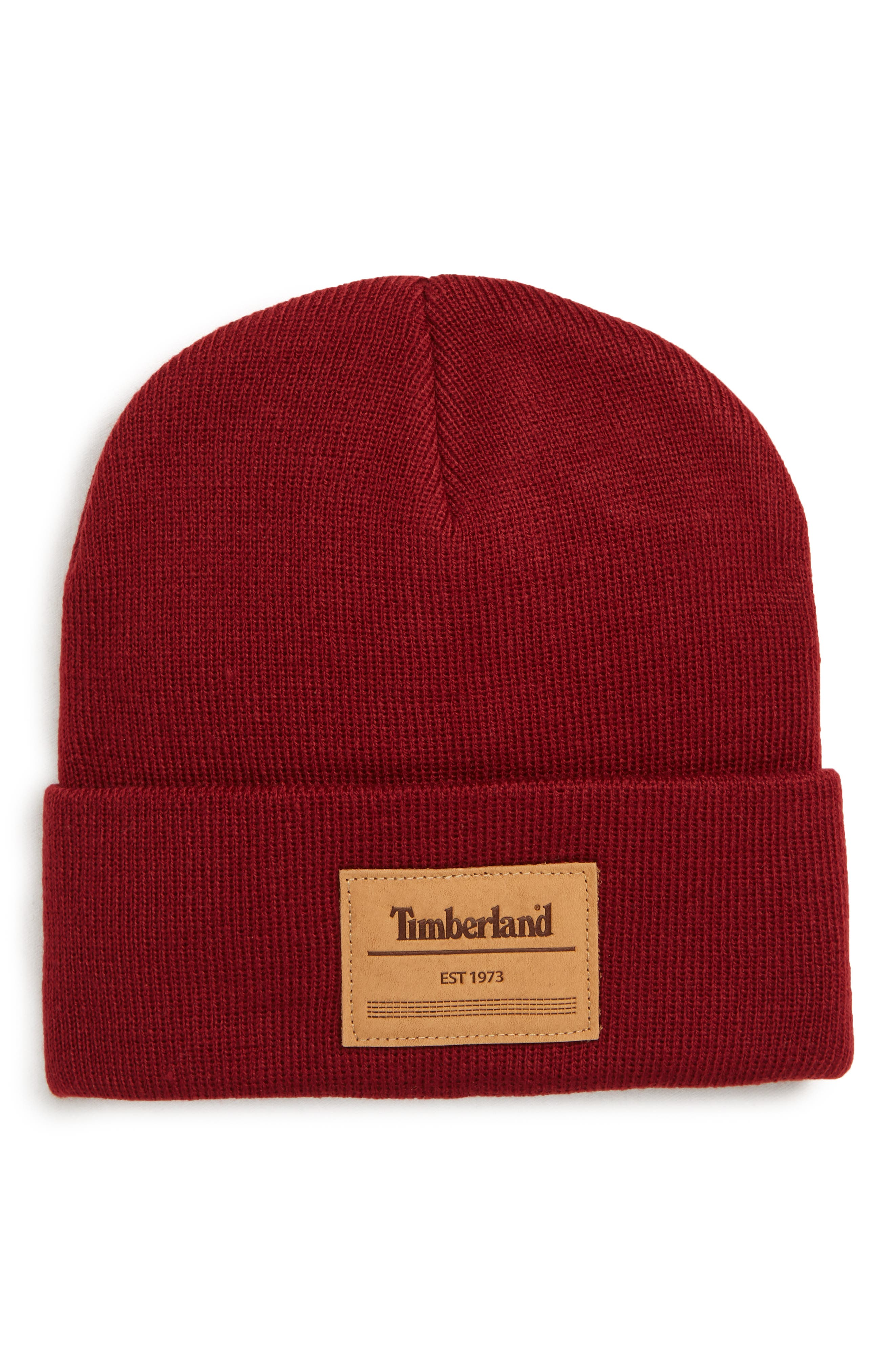 Timberland Watch Logo Patch Beanie - Red