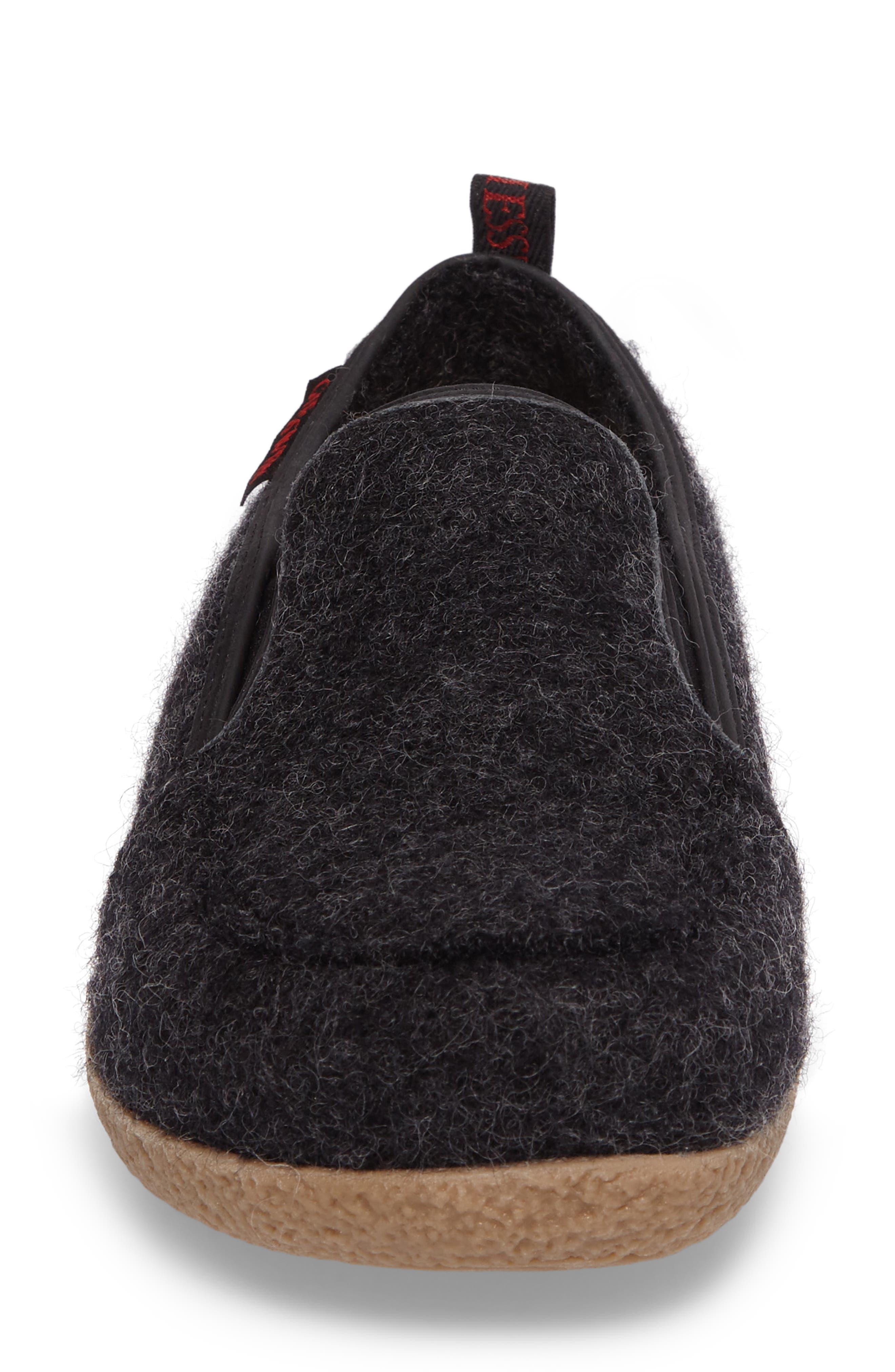 Innsbruck Boiled Wool Slipper,                             Alternate thumbnail 4, color,                             CHARCOAL WOOL