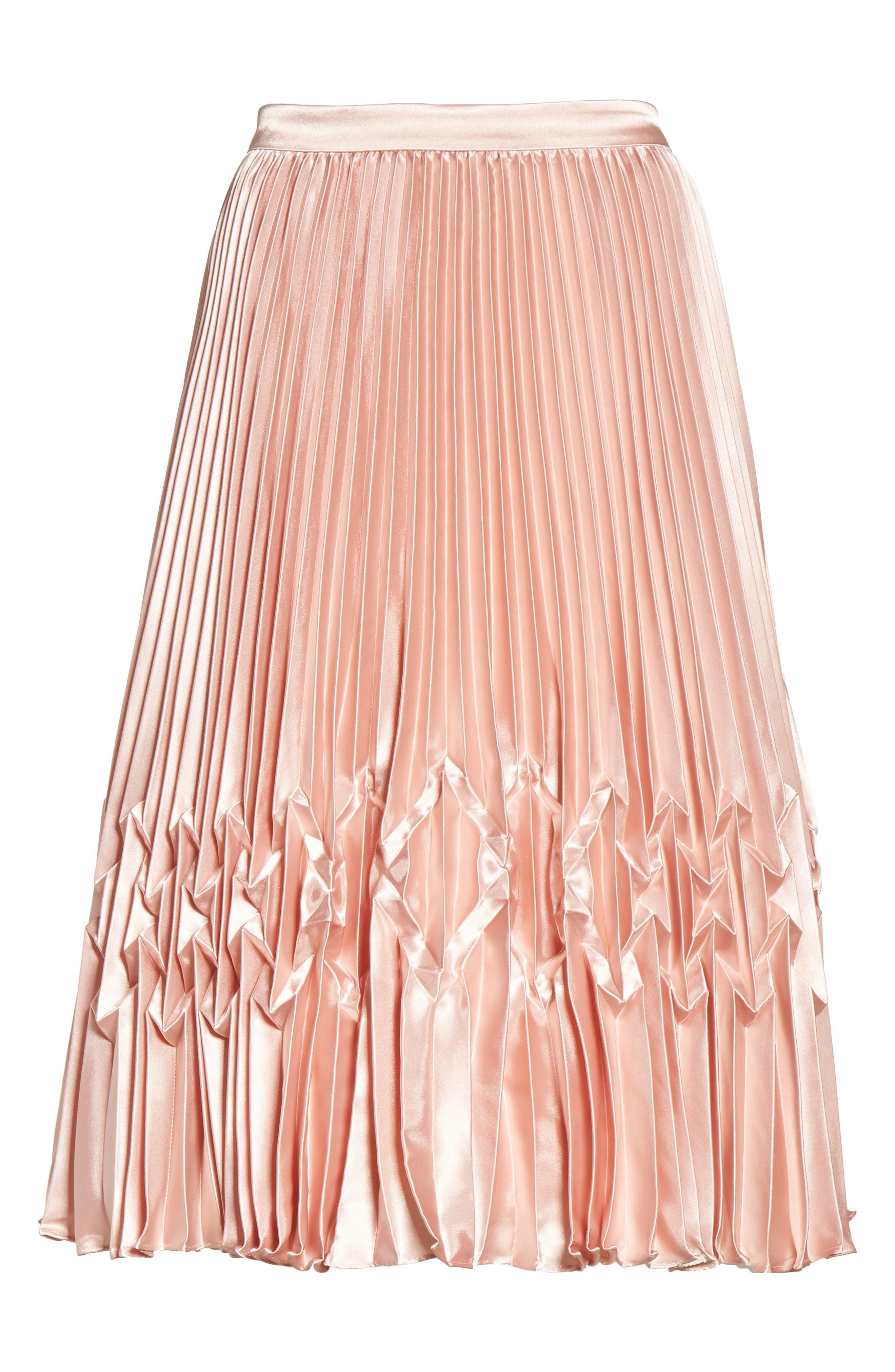 Zigzag Detail Pleated Midi Skirt,                             Alternate thumbnail 6, color,                             681