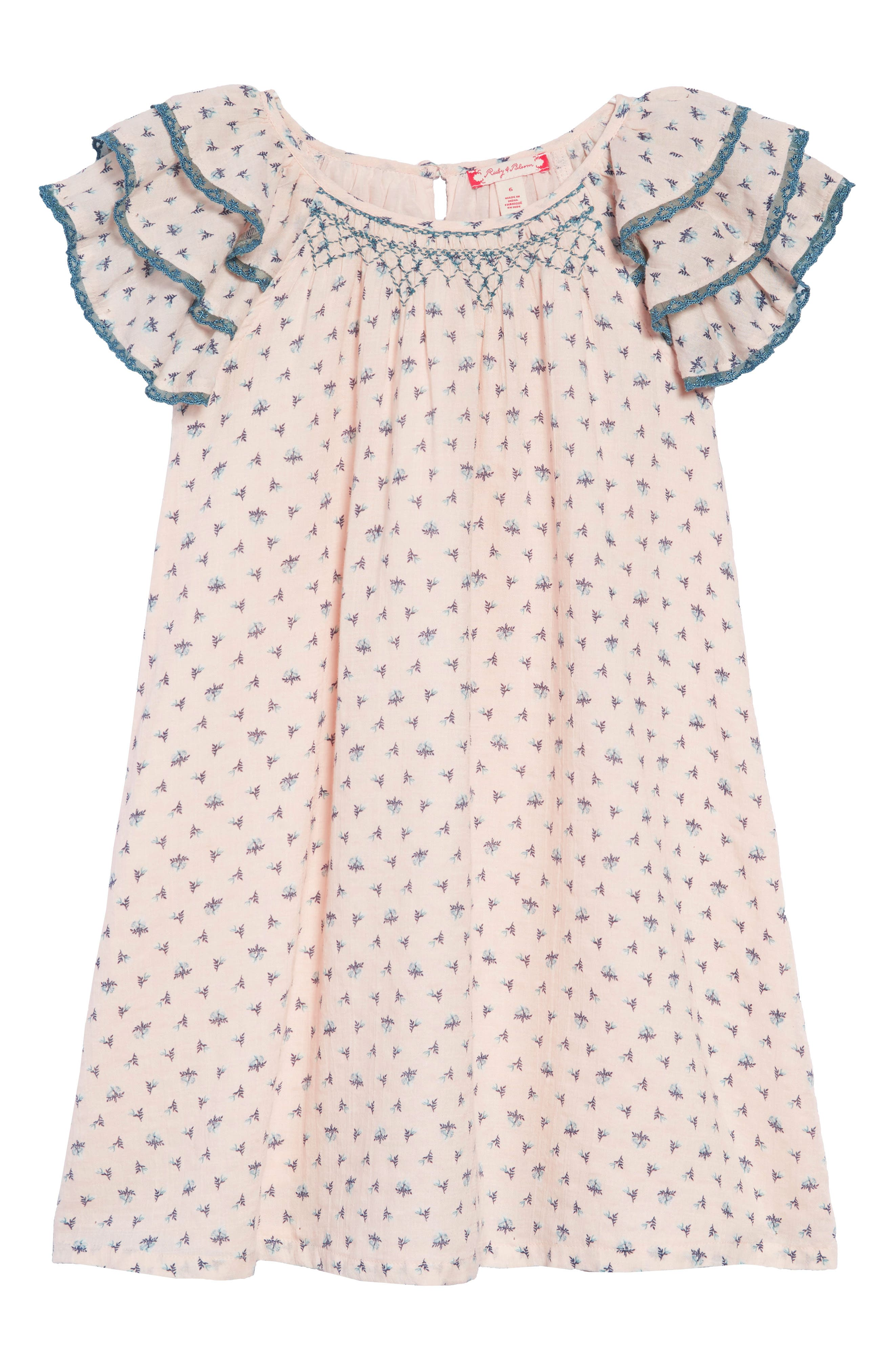 Tiered Sleeve Dress,                             Main thumbnail 1, color,                             PINK CHINTZ PRIM FLORAL