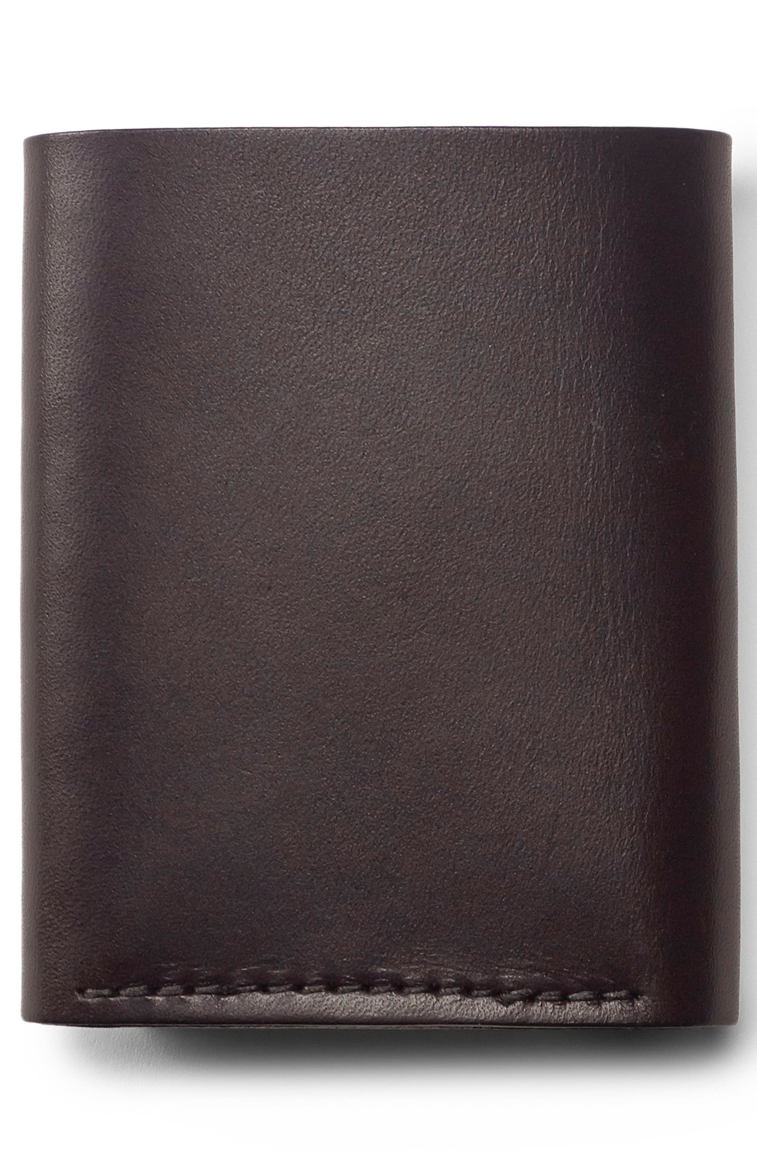 Leather Trifold Leather Wallet,                             Alternate thumbnail 4, color,