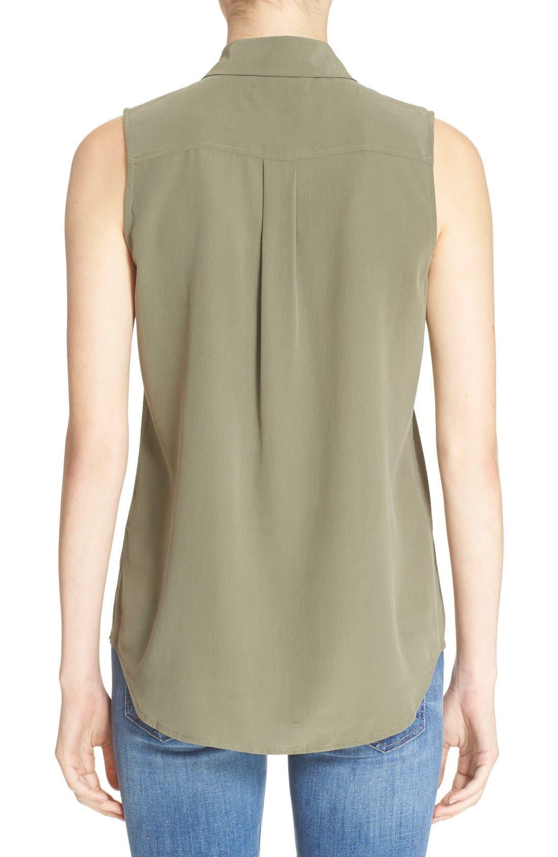'Slim Signature' Sleeveless Silk Shirt,                             Alternate thumbnail 154, color,