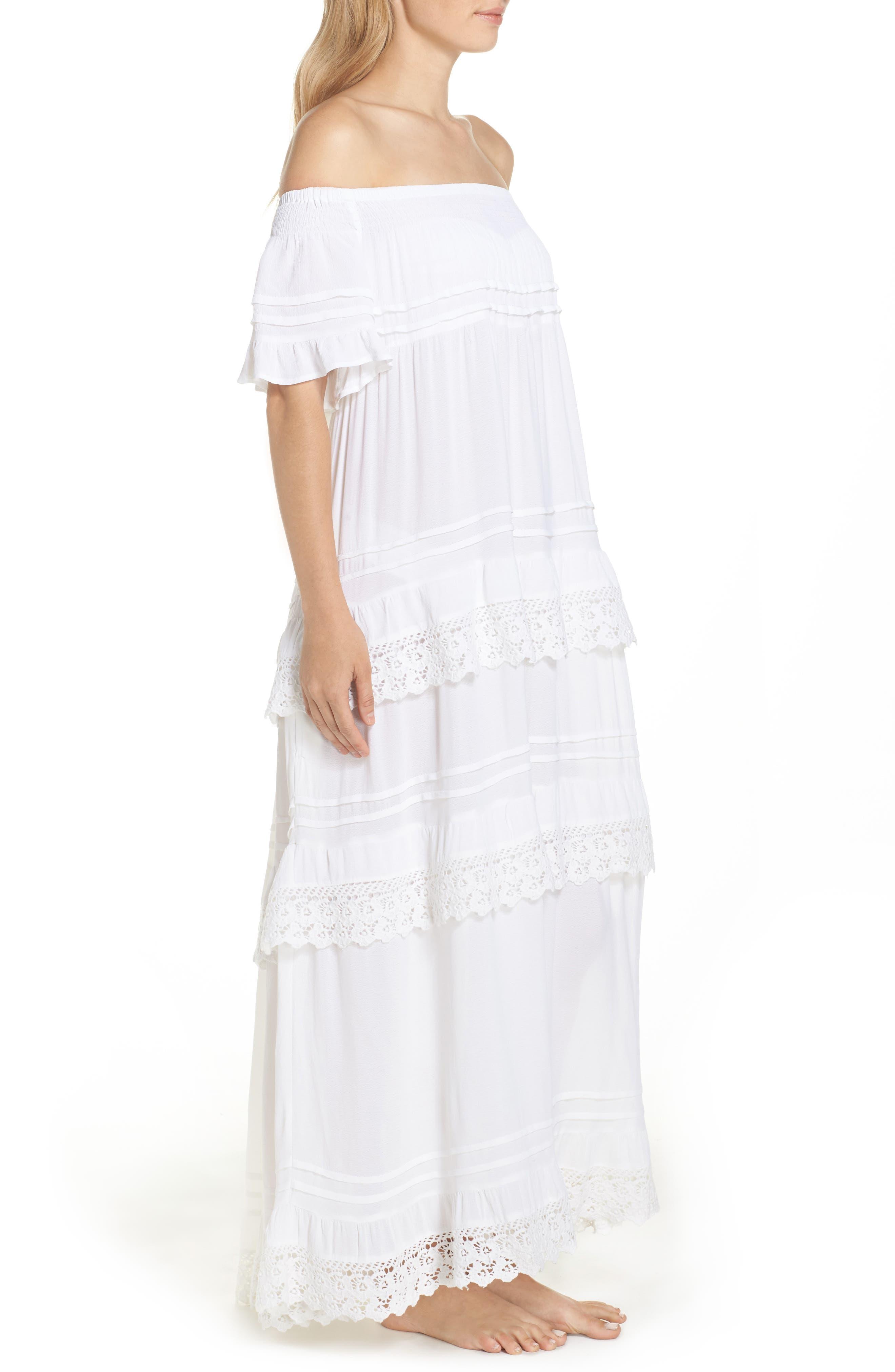 Esmerelda Off the Shoulder Cover-Up Maxi Dress,                             Alternate thumbnail 6, color,