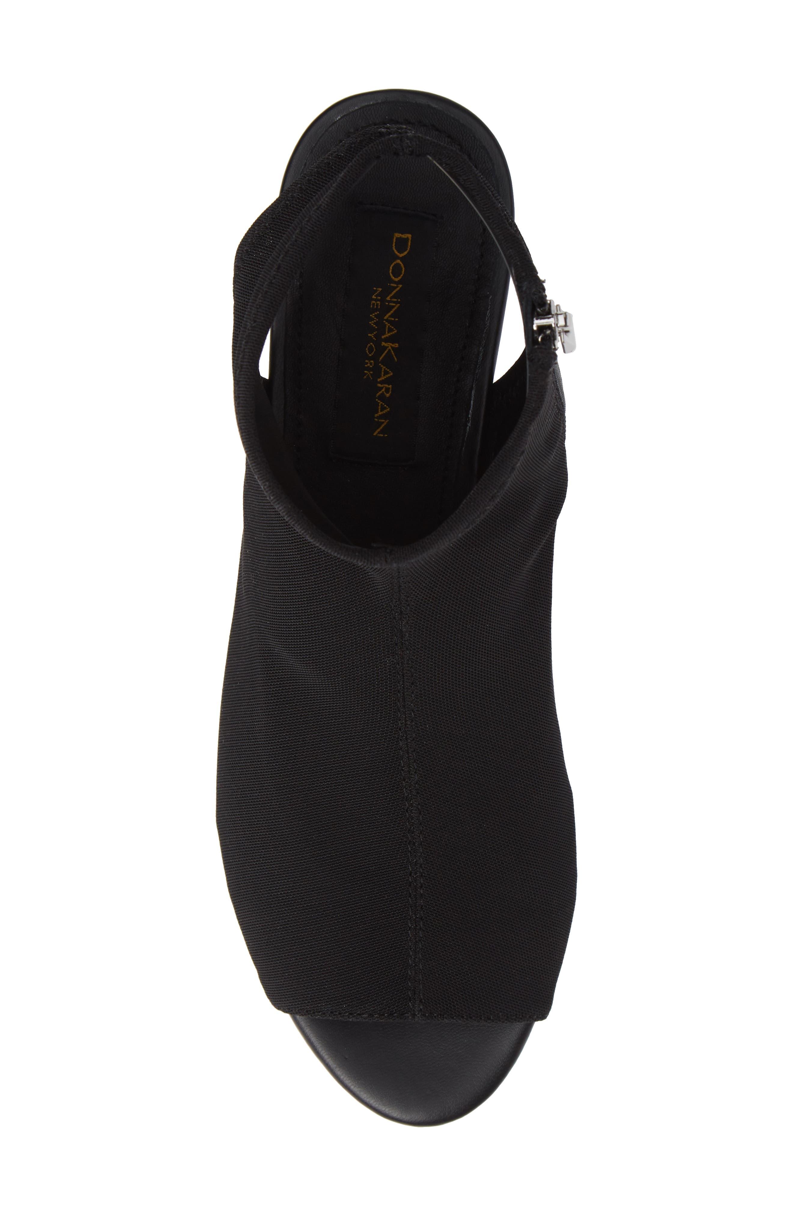 Donna Karan Rivera Mid-Wedge Sandal,                             Alternate thumbnail 5, color,                             BLACK STRETCH FLY KNIT