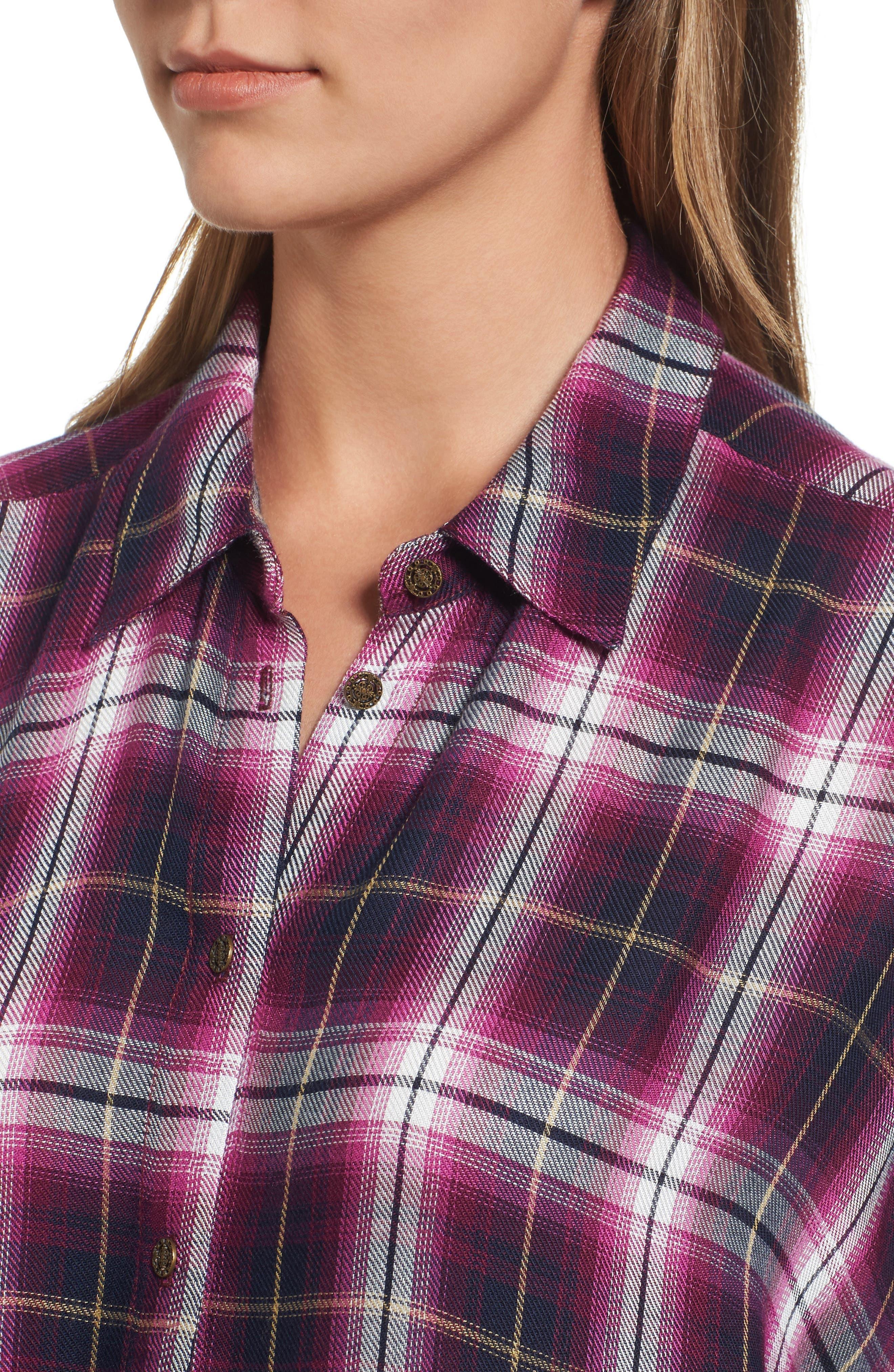 Misa Drop Shoulder Plaid Top,                             Alternate thumbnail 4, color,                             687
