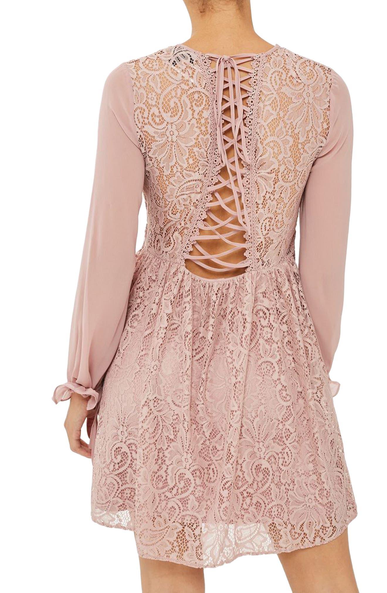 Laced Back Minidress,                             Alternate thumbnail 2, color,