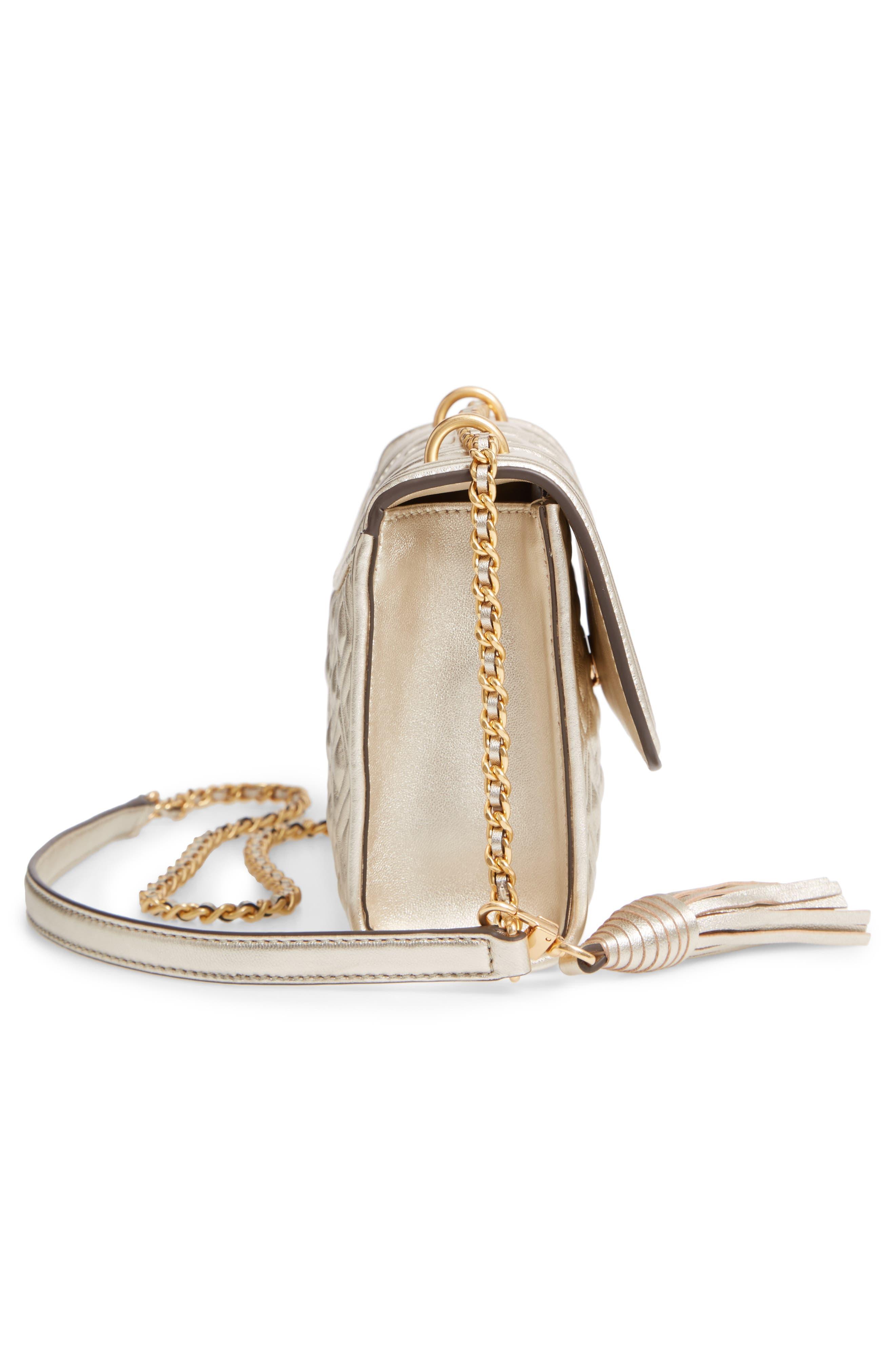 TORY BURCH,                             Small Fleming Metallic Lambskin Leather Convertible Shoulder Bag,                             Alternate thumbnail 5, color,                             100