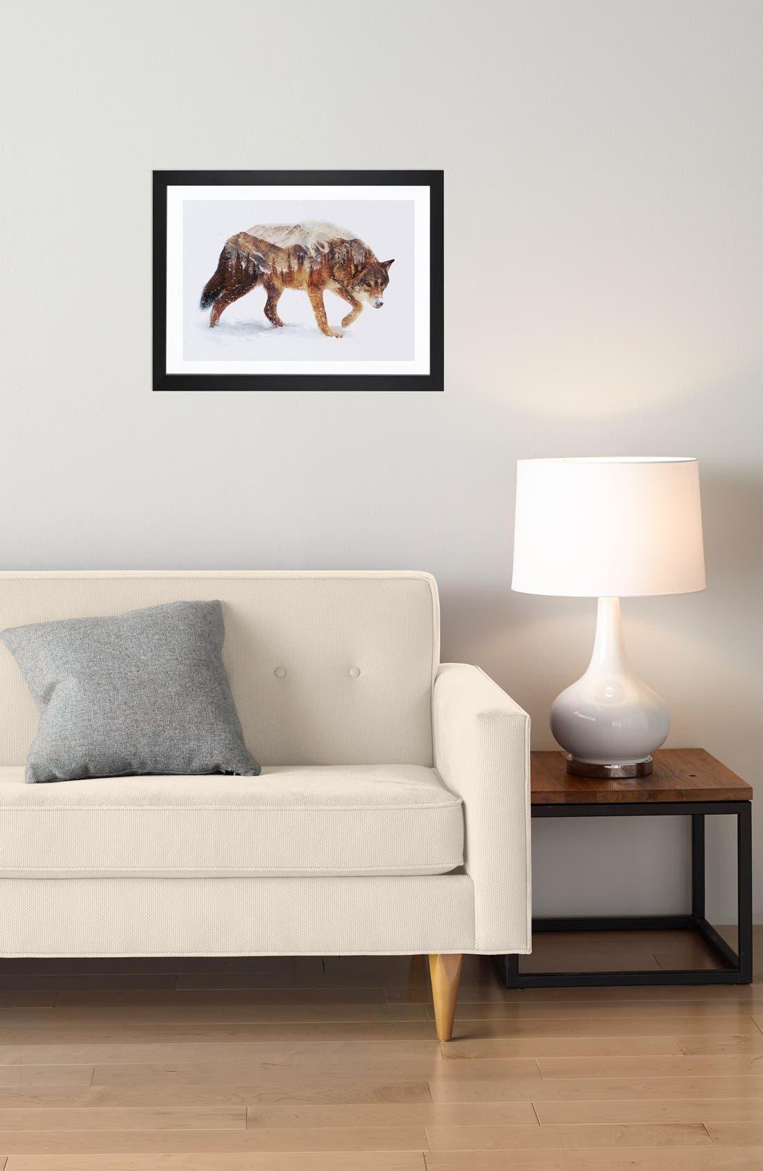 'Arctic Wolf' Framed Fine Art Print,                             Alternate thumbnail 3, color,                             BROWN