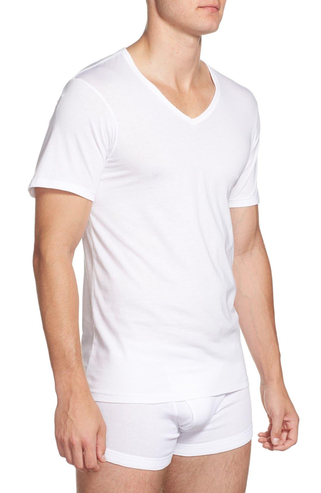 Slim Fit 3-Pack Cotton T-Shirt,                             Alternate thumbnail 4, color,                             100