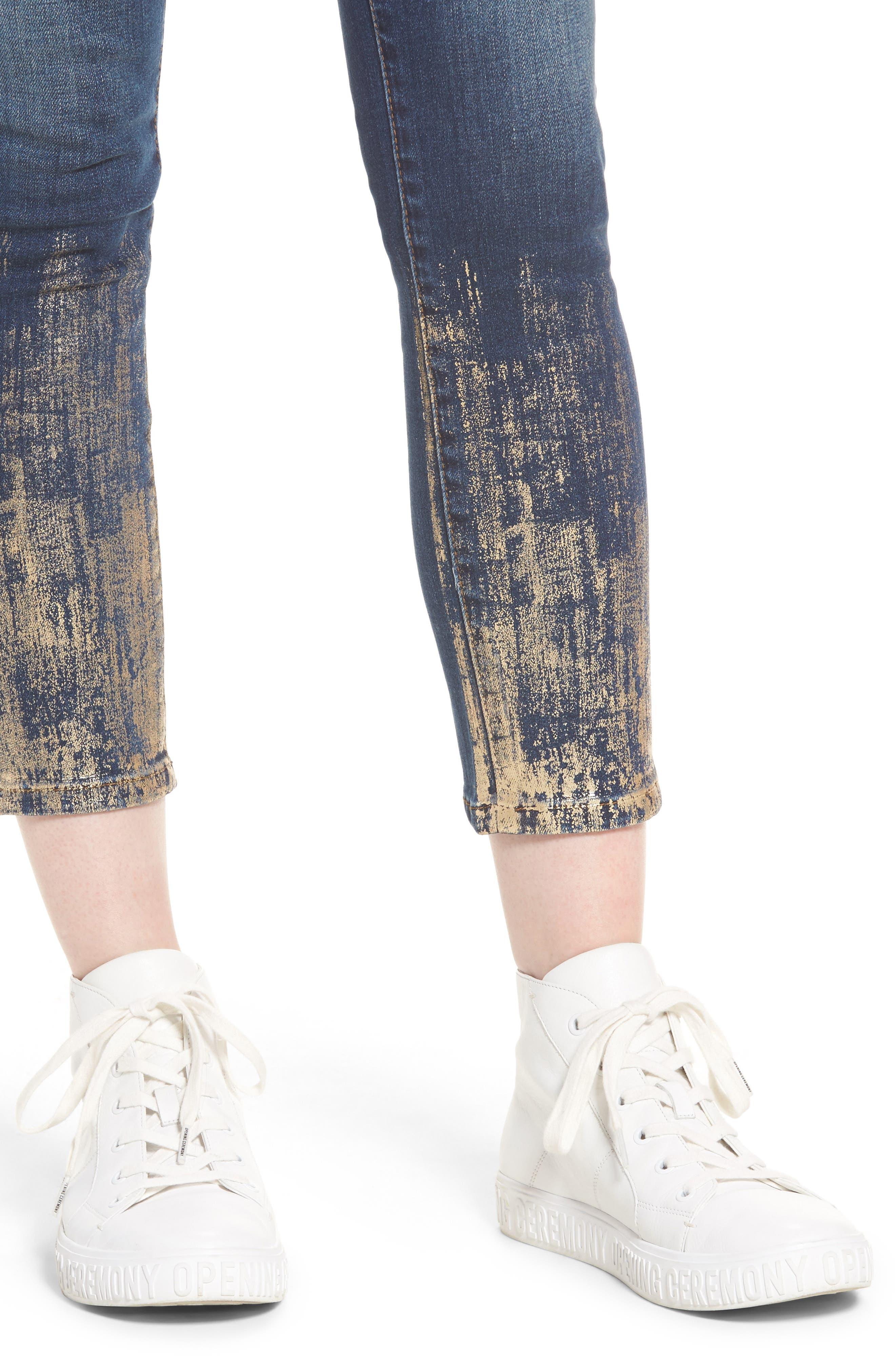 Piper Foil Crop Skinny Jeans,                             Alternate thumbnail 4, color,                             400