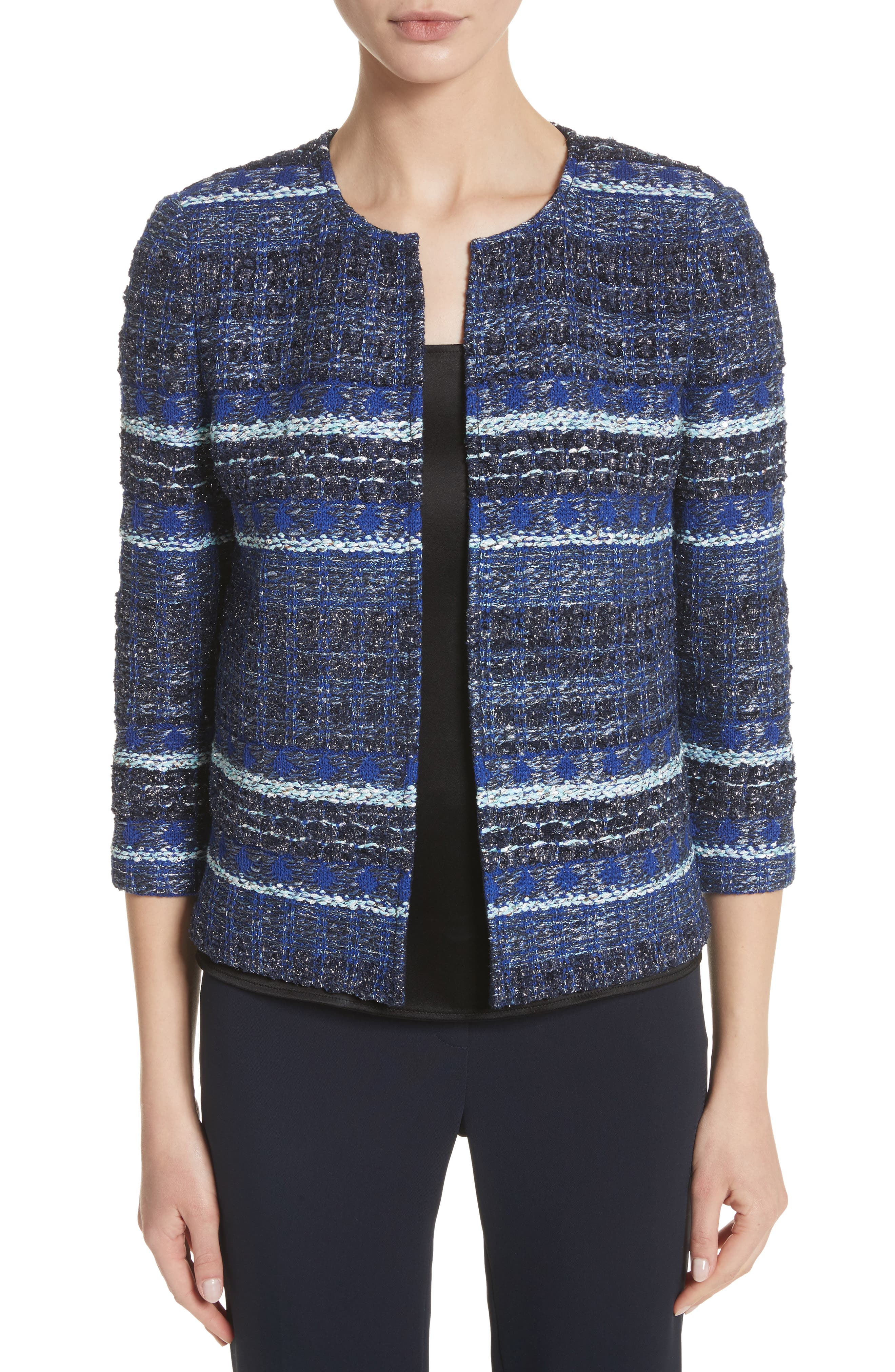 Stripe Tweed Jacket,                         Main,                         color, NAVY MULTI