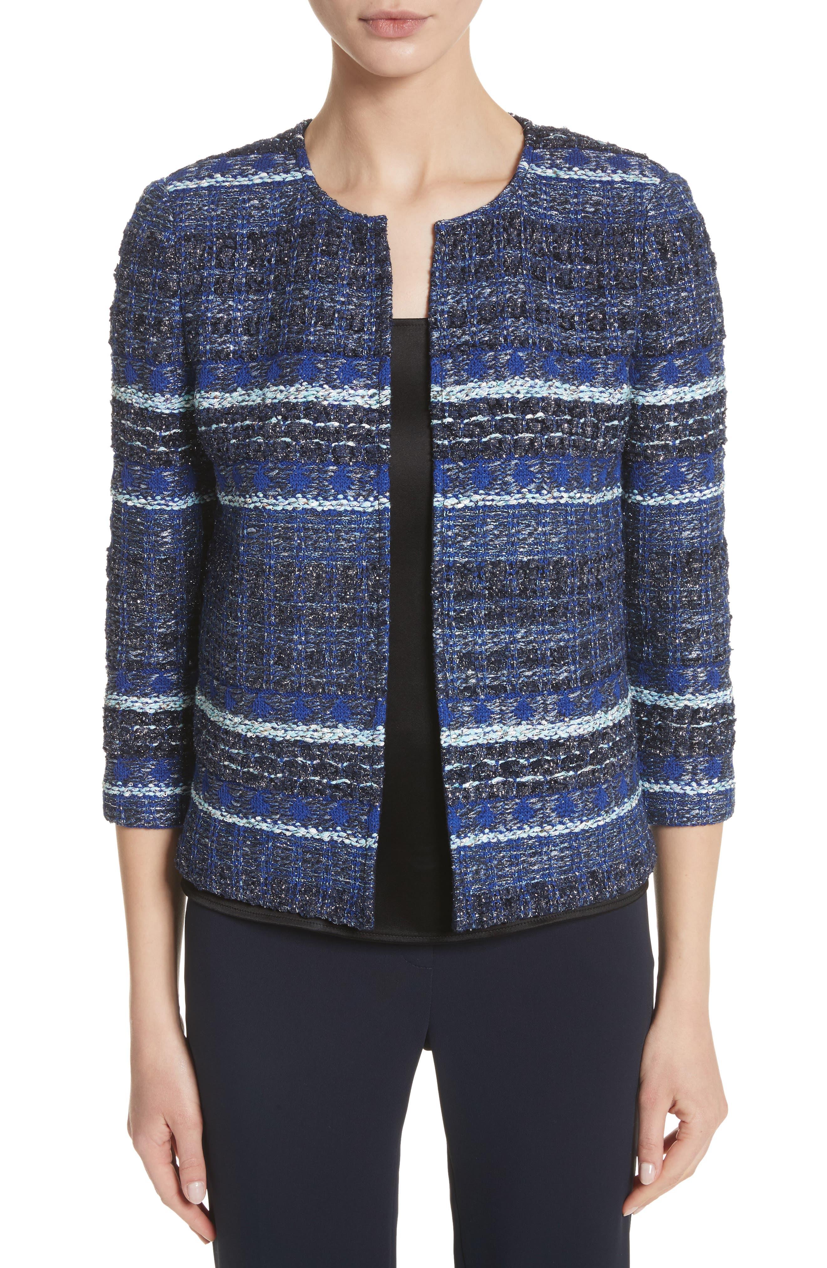 ST. JOHN COLLECTION Stripe Tweed Jacket, Main, color, NAVY MULTI