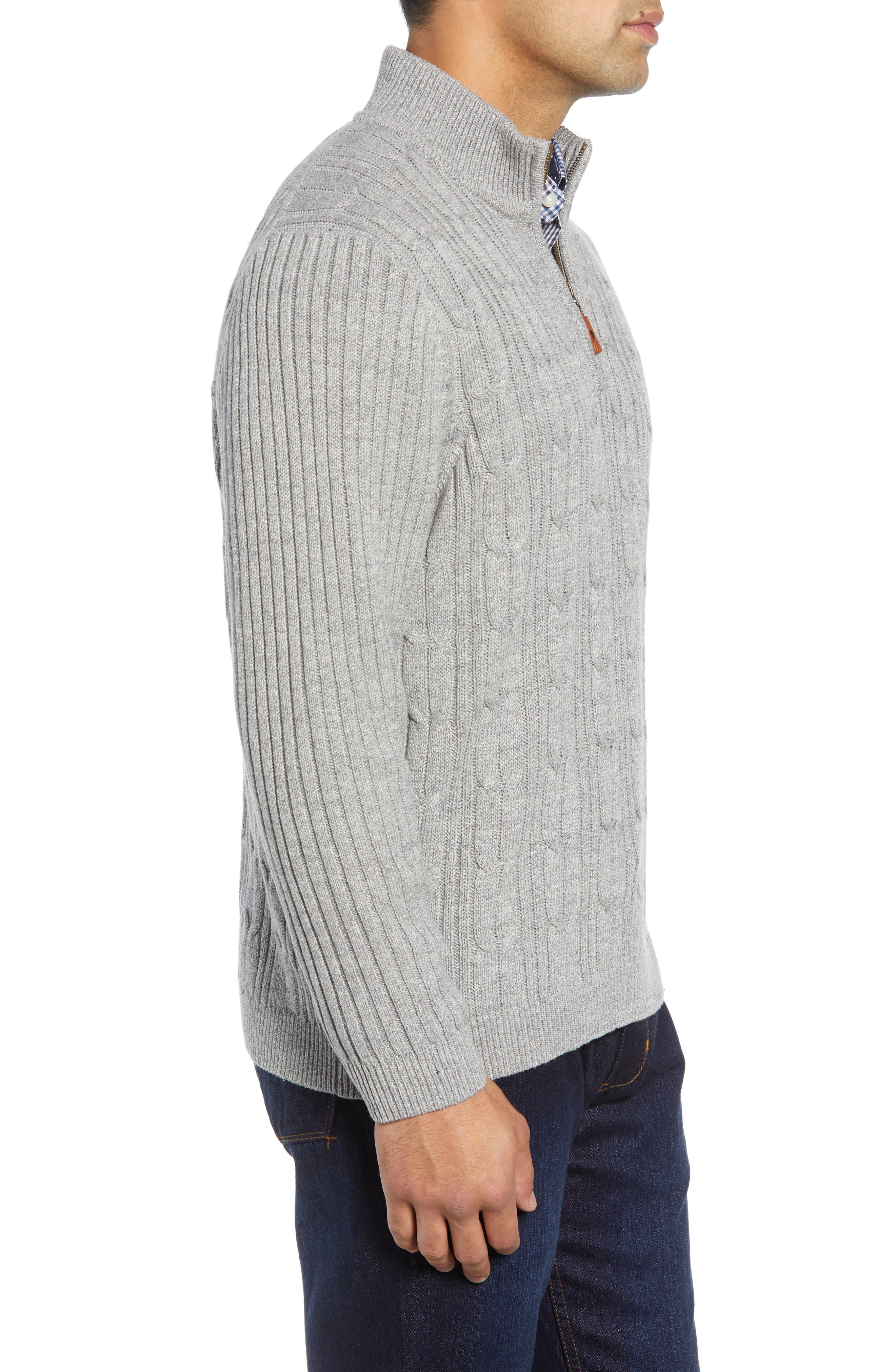Tenorio Cable Knit Zip Sweater,                             Alternate thumbnail 3, color,                             LIGHT STORM