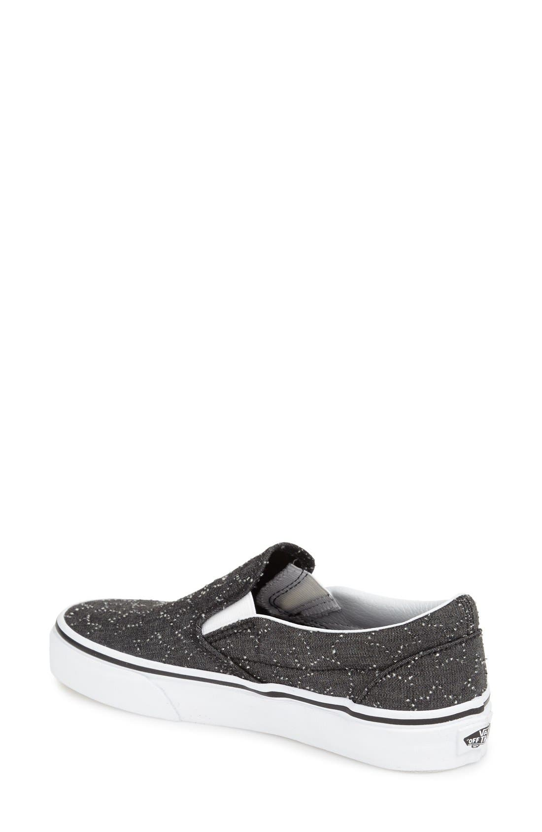 Classic Slip-On Sneaker,                             Alternate thumbnail 2, color,                             CHECKER FLORAL BLACK