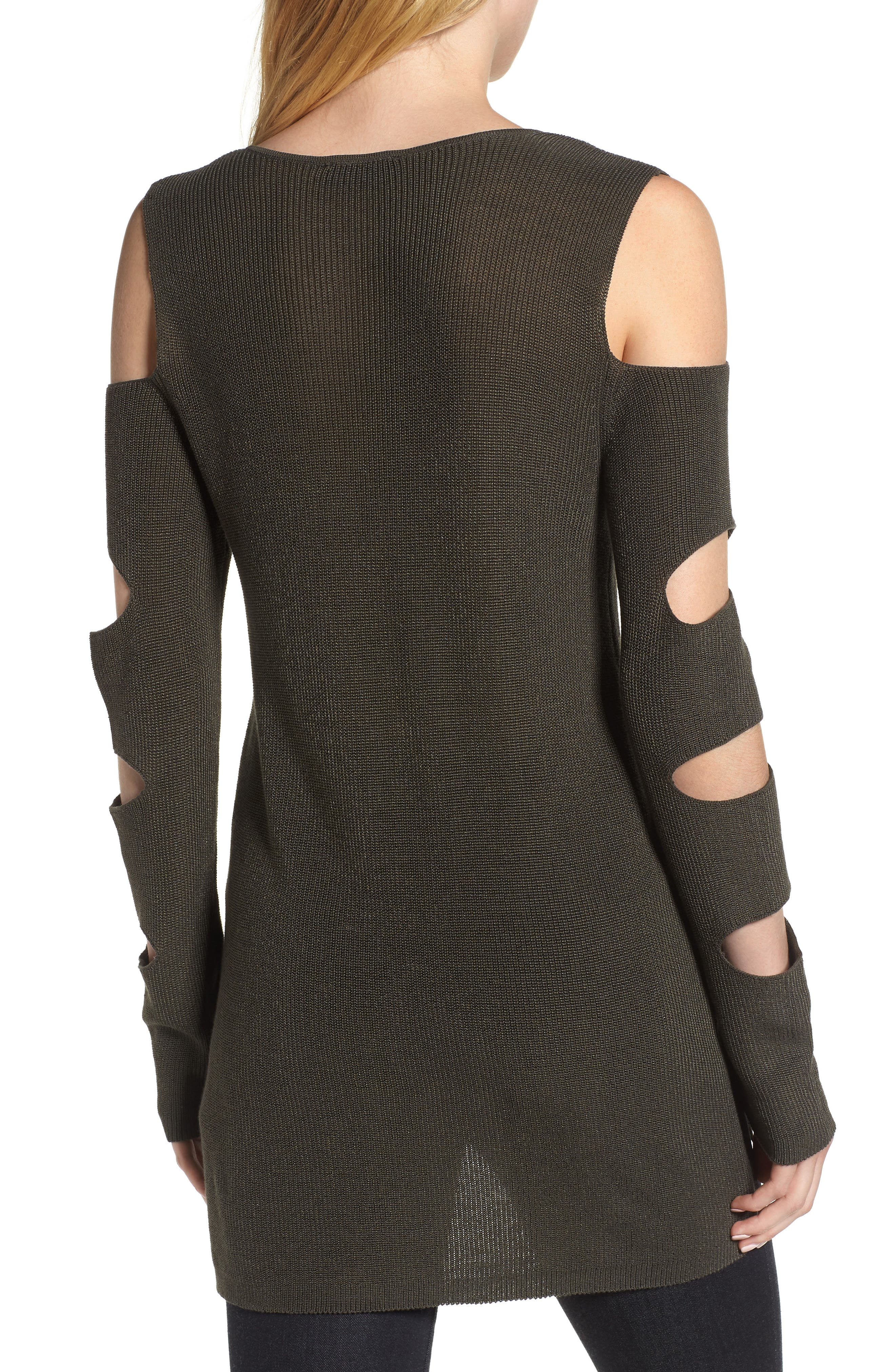 Cutout Sweater,                             Alternate thumbnail 2, color,                             OLIVE EARTH