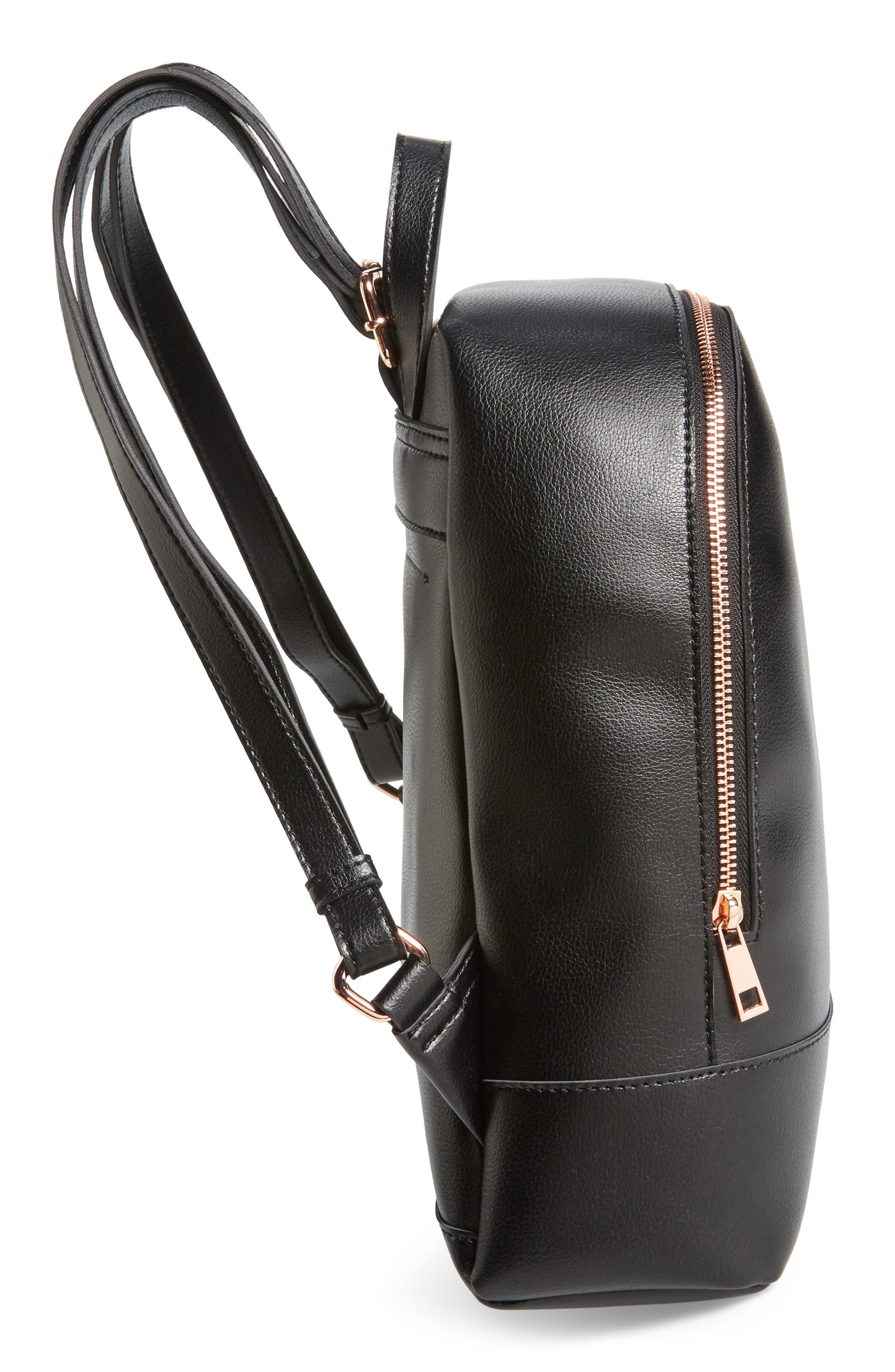 Chester Faux Leather Backpack,                             Alternate thumbnail 5, color,                             001