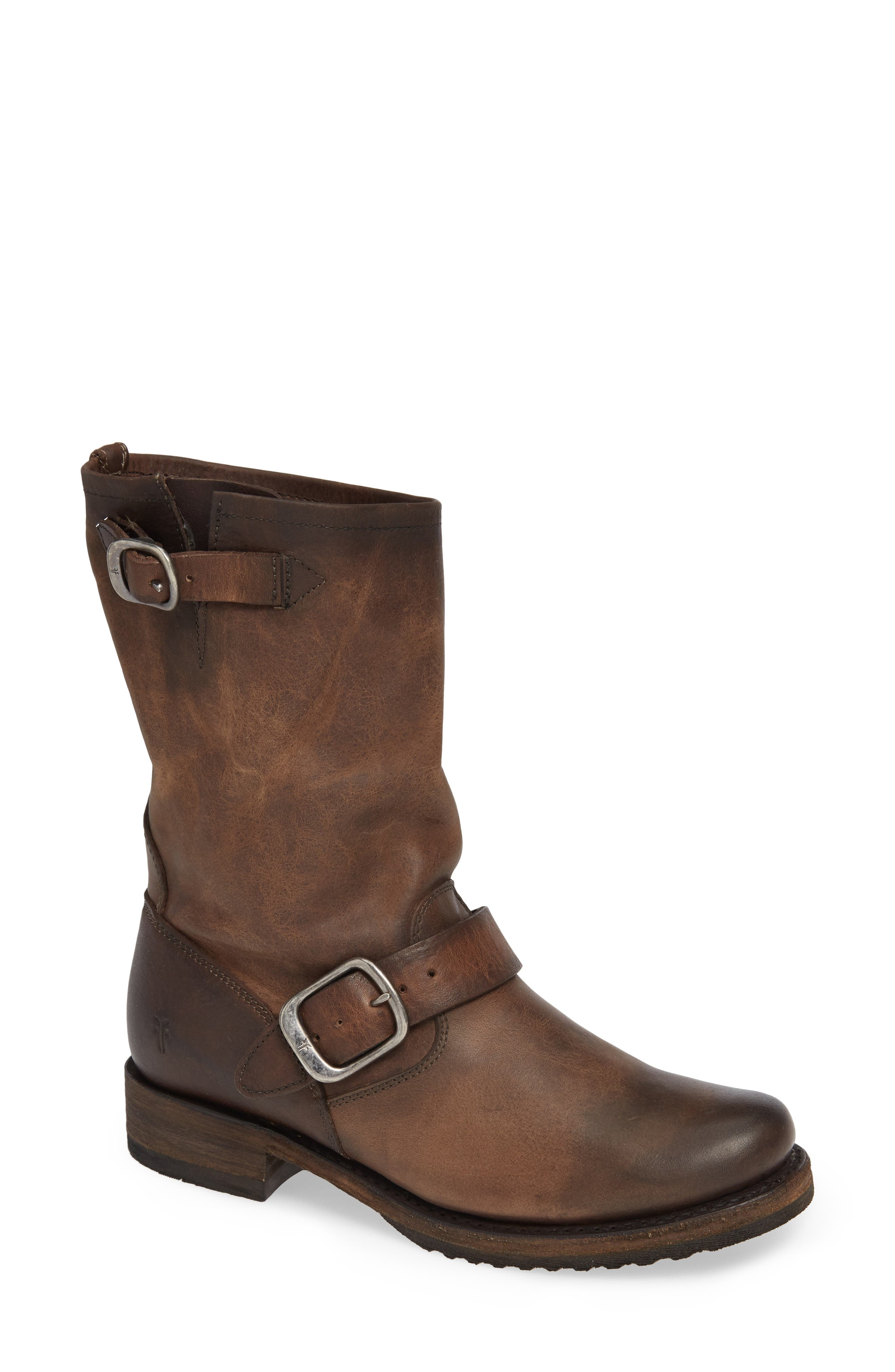 'Veronica' Short Boot,                         Main,                         color, BROWN LEATHER