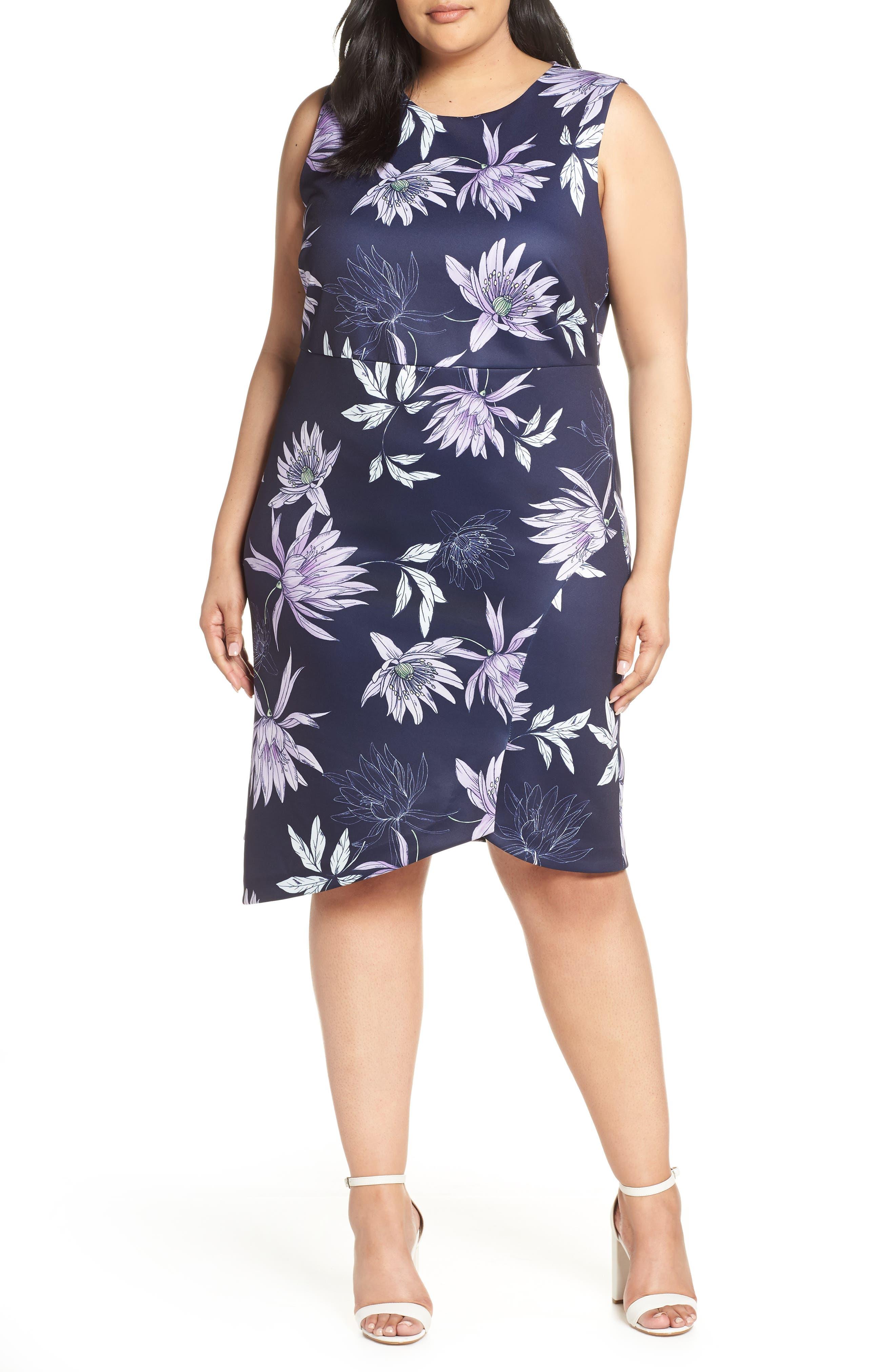 Plus Size Vince Camuto Asymmetrical Floral Sheath Dress, Blue