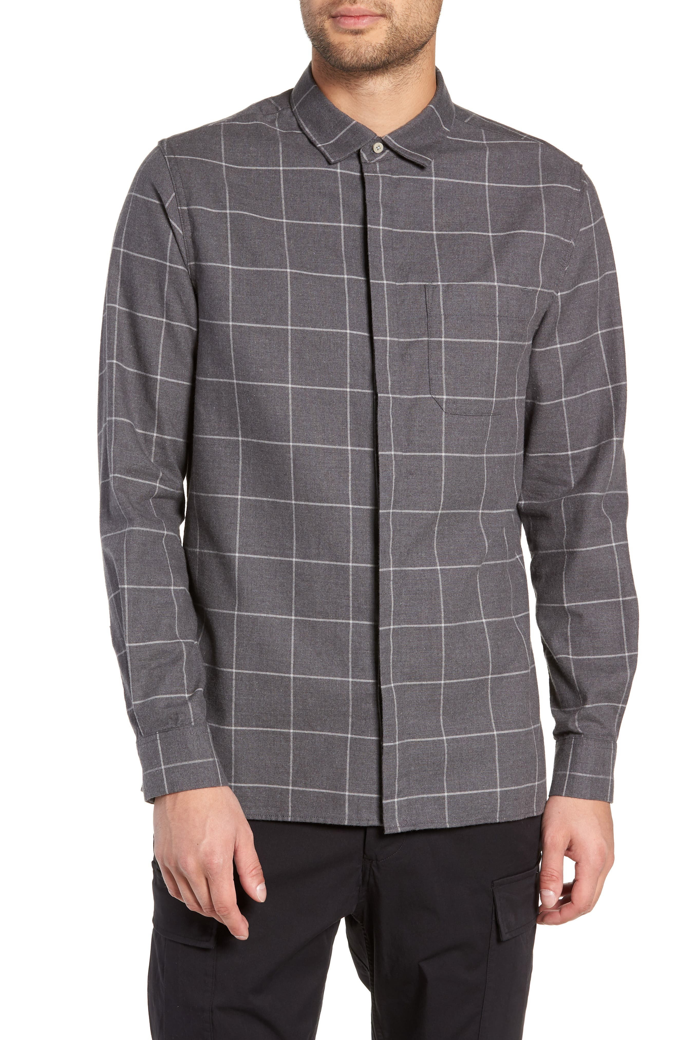 Windowpane Flannel Shirt,                         Main,                         color, GREY