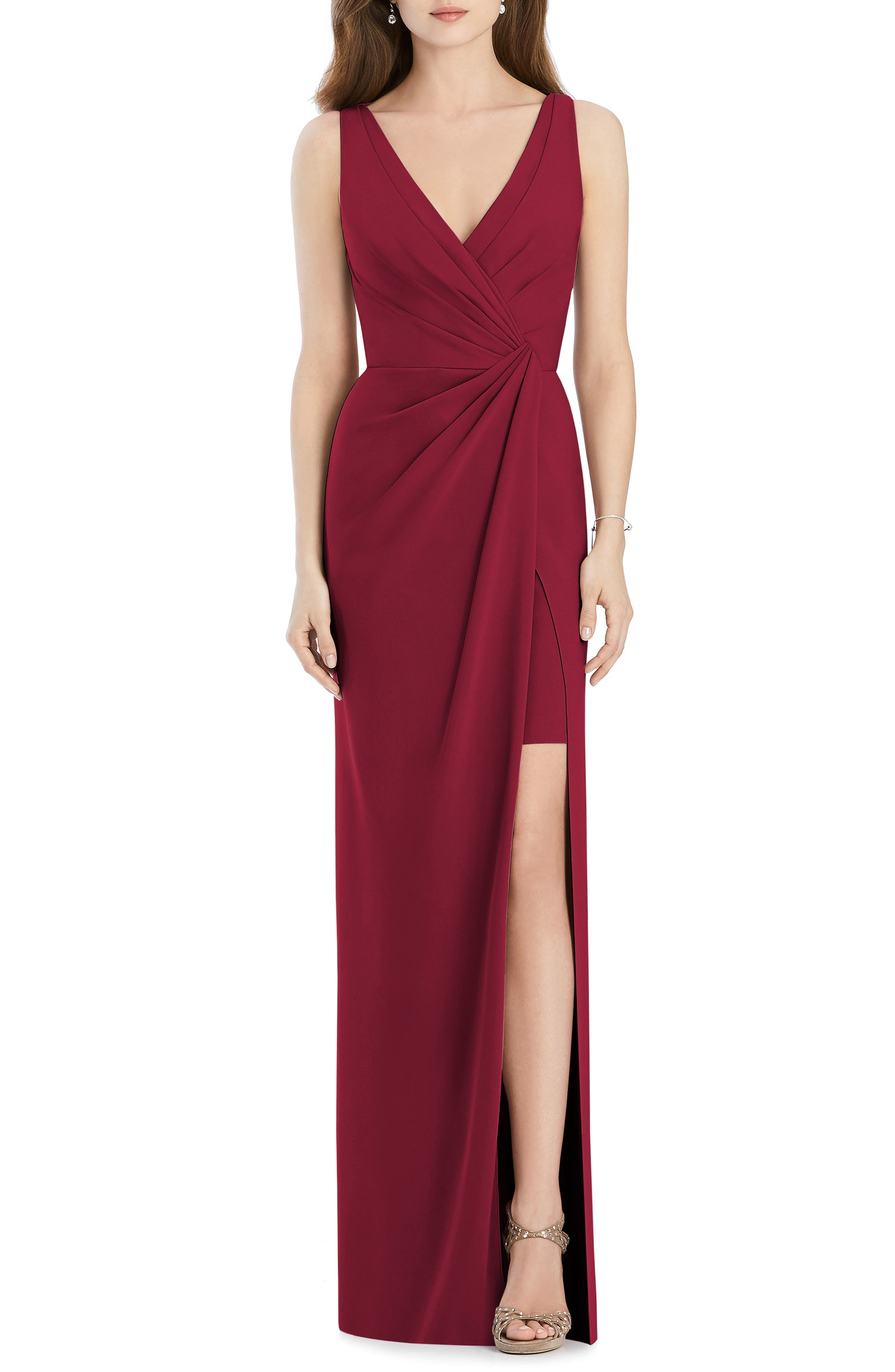 Jenny Packham Crepe Column Gown, Burgundy