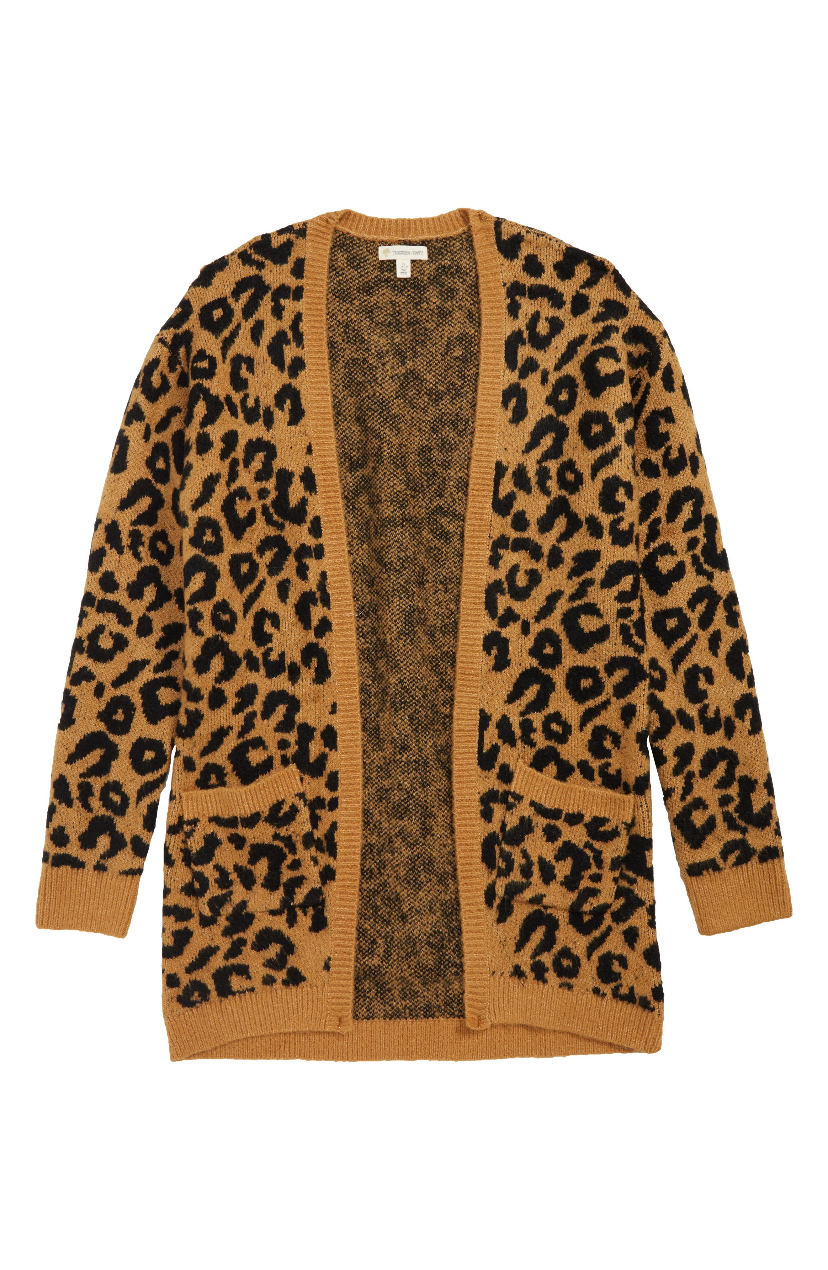 Fuzzy Open Front Cardigan,                             Main thumbnail 1, color,                             TAN DALE LEOPARD