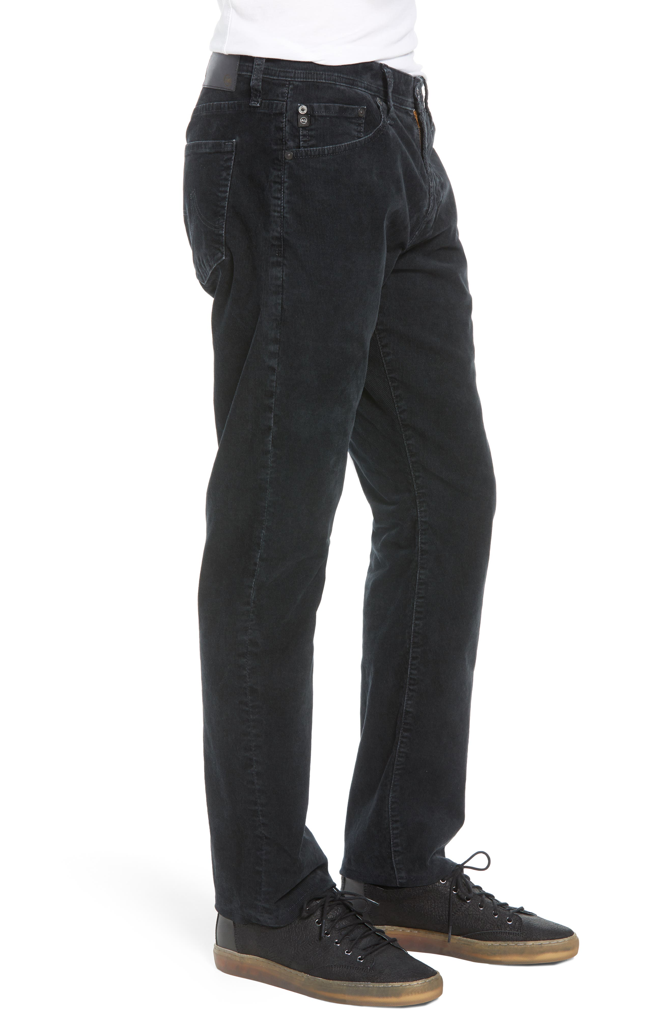 Everett Straight Leg Corduroy Pants,                             Alternate thumbnail 3, color,                             SULFUR ASH BLACK