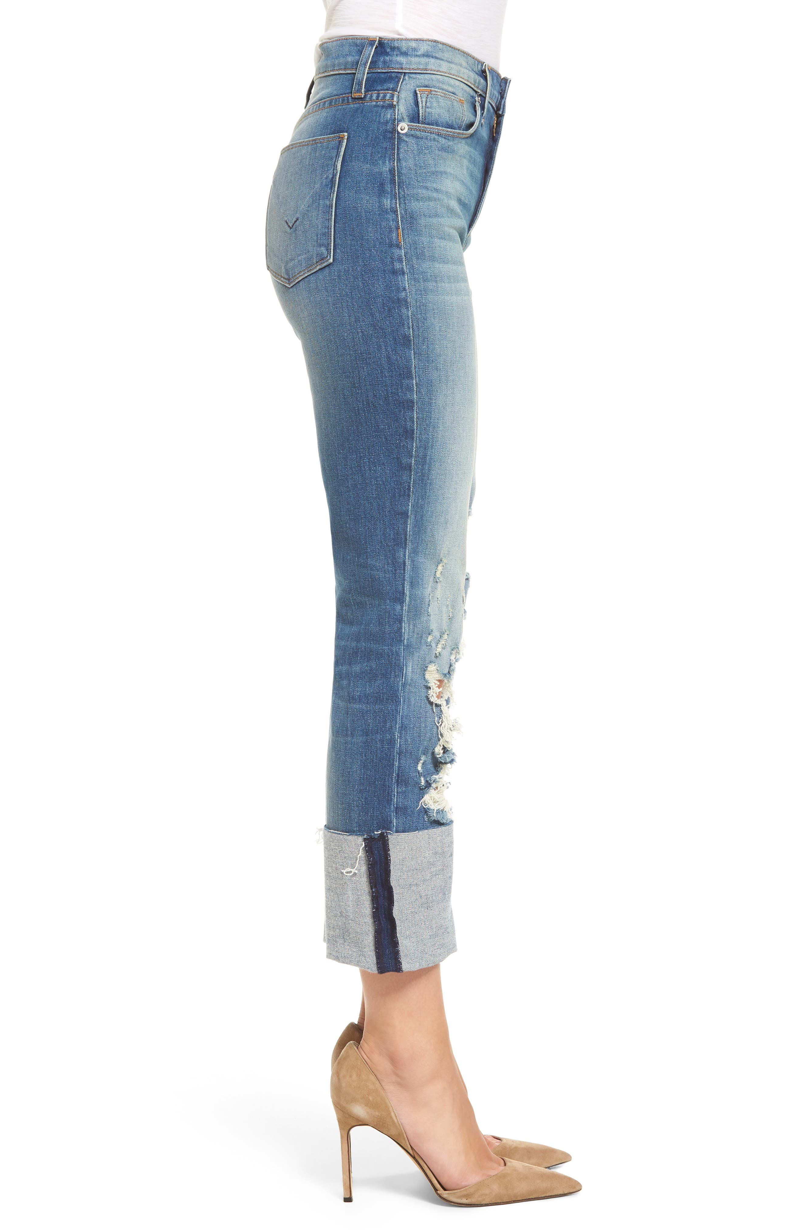 Zoeey High Waist Crop Straight Leg Jeans,                             Alternate thumbnail 9, color,