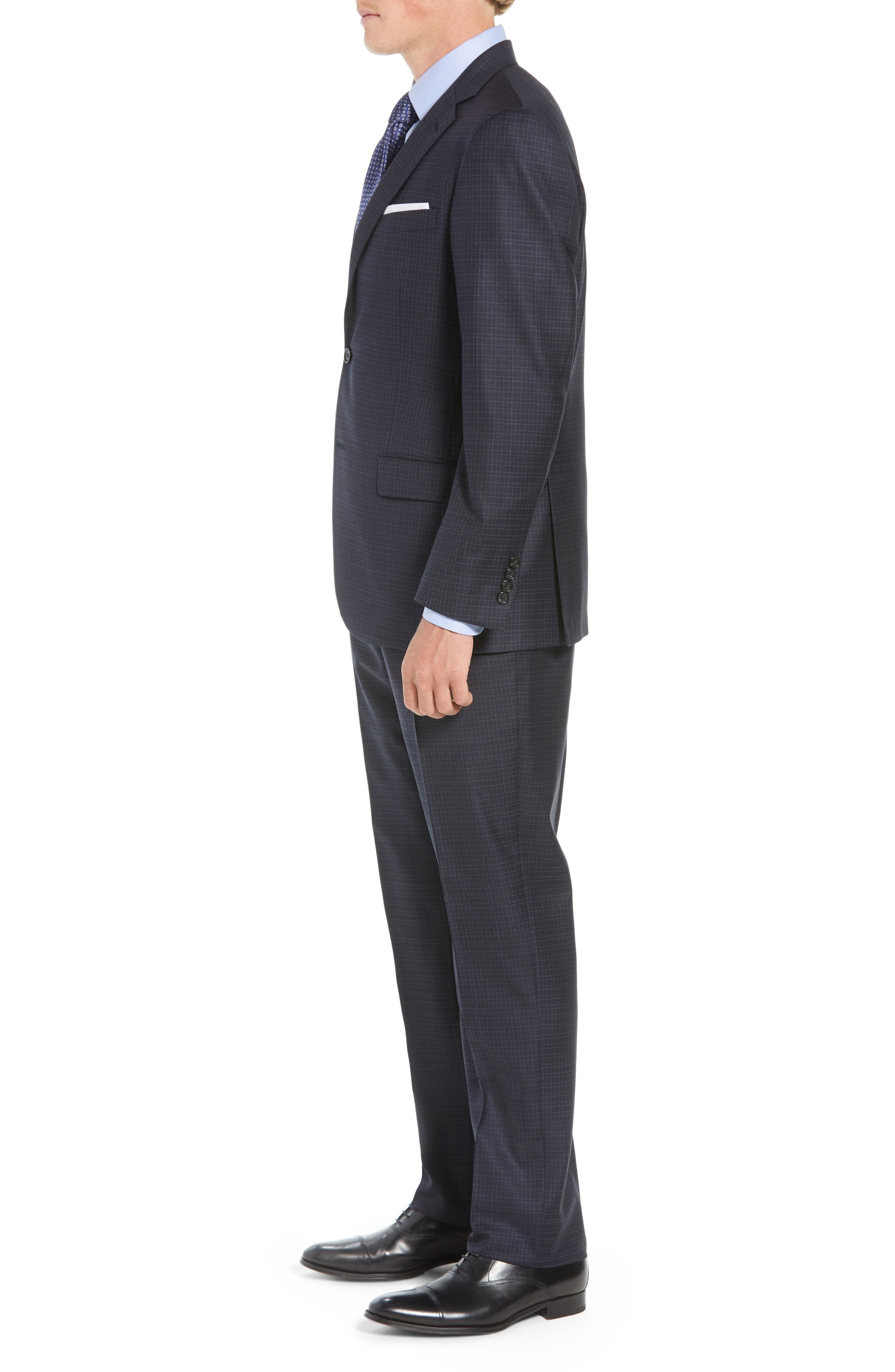 New York Classic Fit Check Wool Suit,                             Alternate thumbnail 3, color,                             NAVY