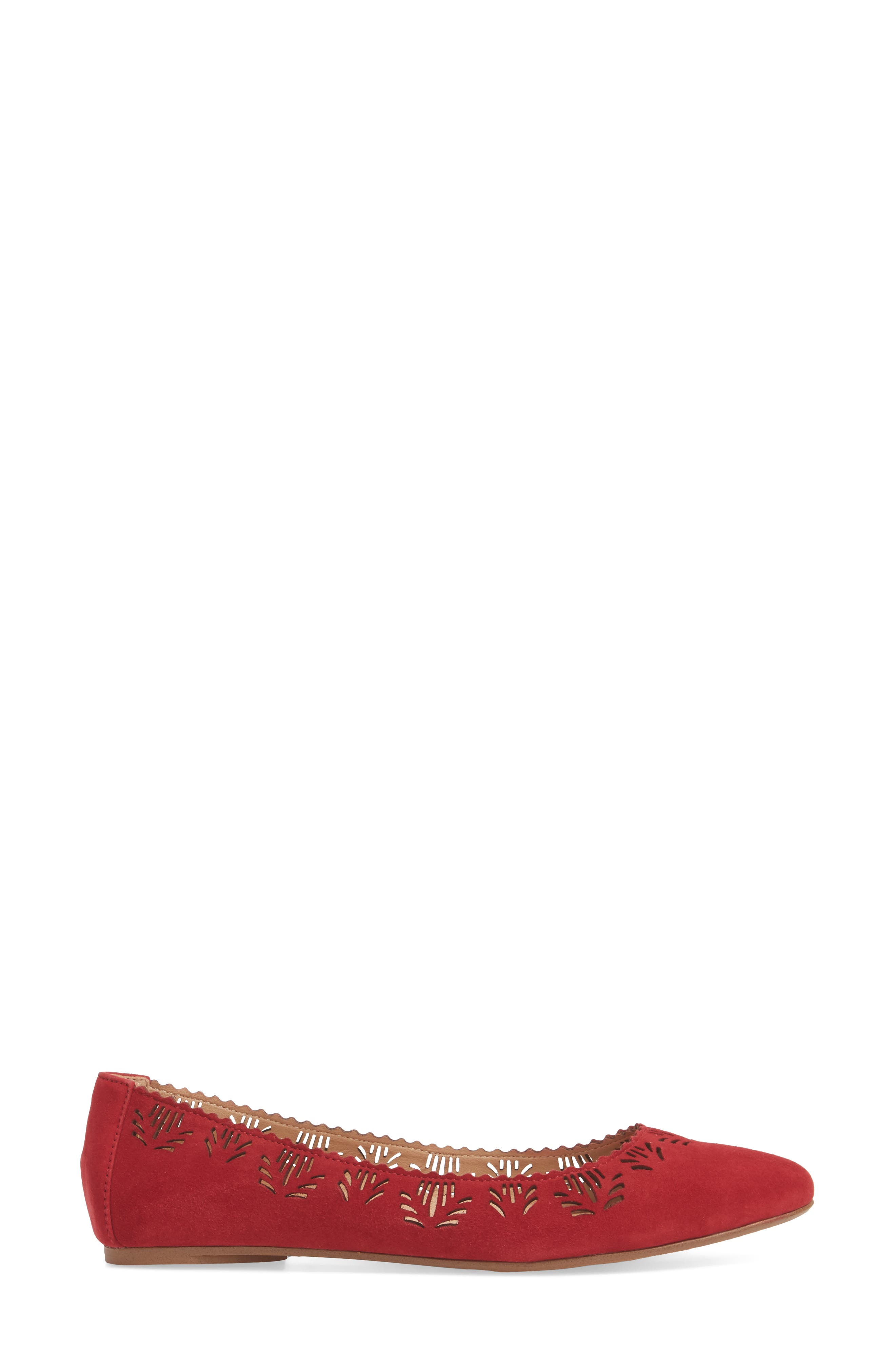 Virginia Flat,                             Alternate thumbnail 3, color,                             RED SUEDE