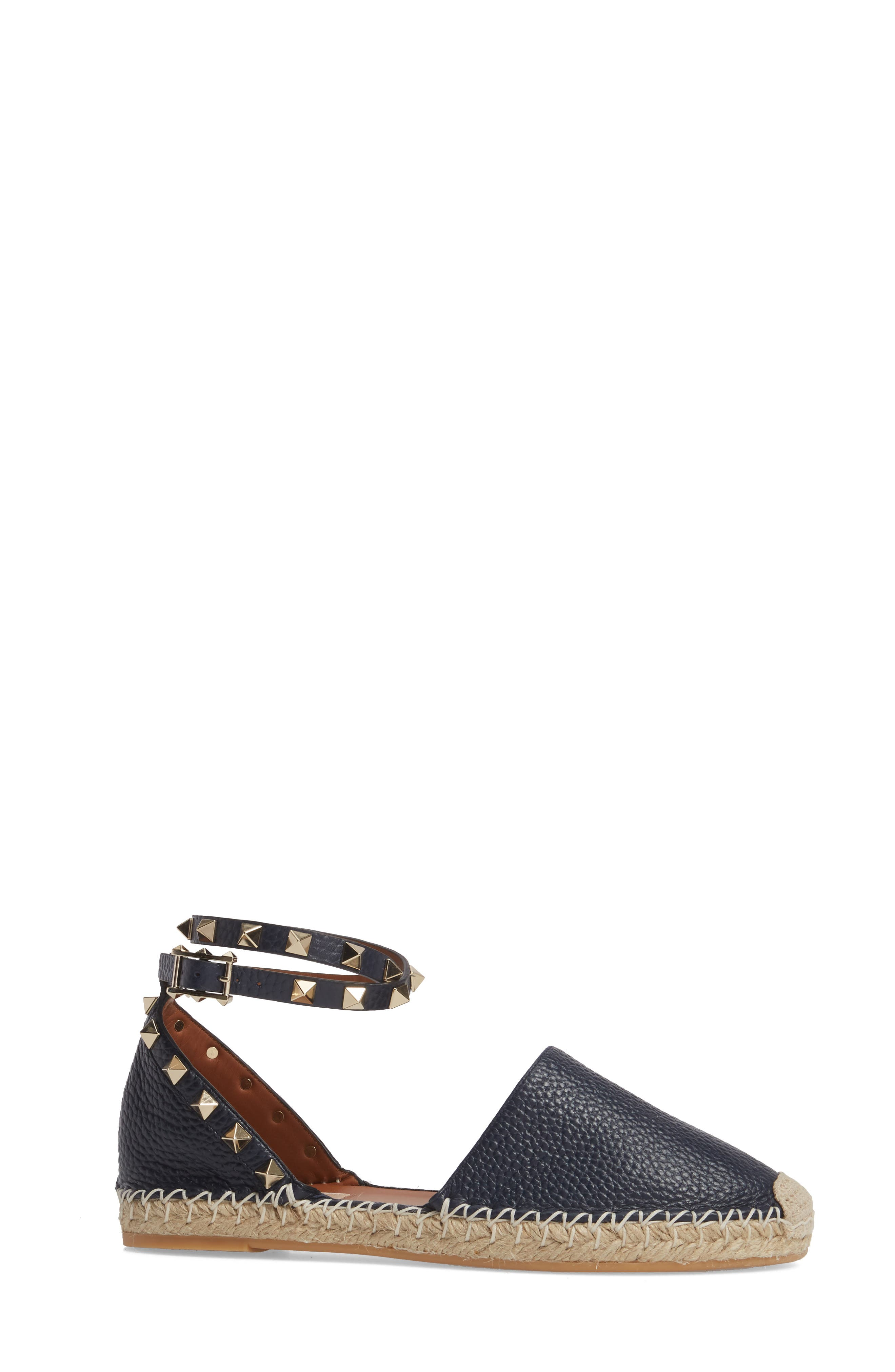 Rockstud Espadrille Flat,                             Alternate thumbnail 3, color,                             MARINE