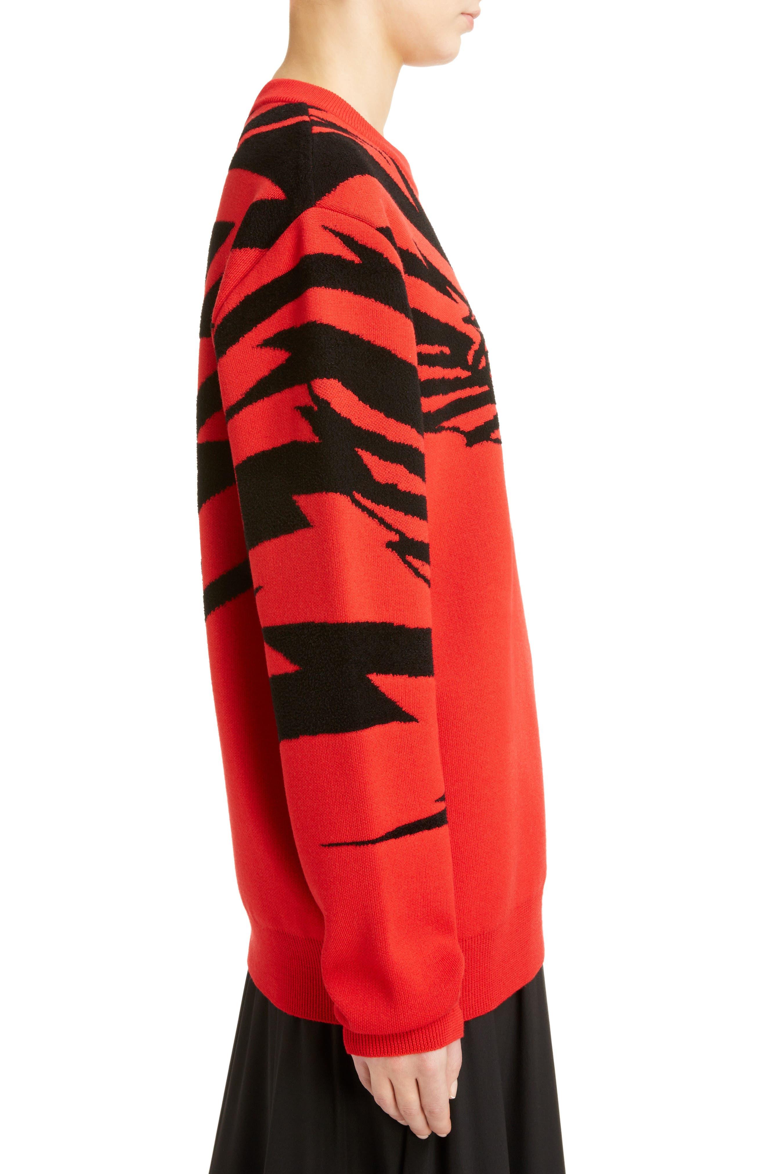 Tiger Wool Jacquard Sweater,                             Alternate thumbnail 3, color,                             RED/ BLACK