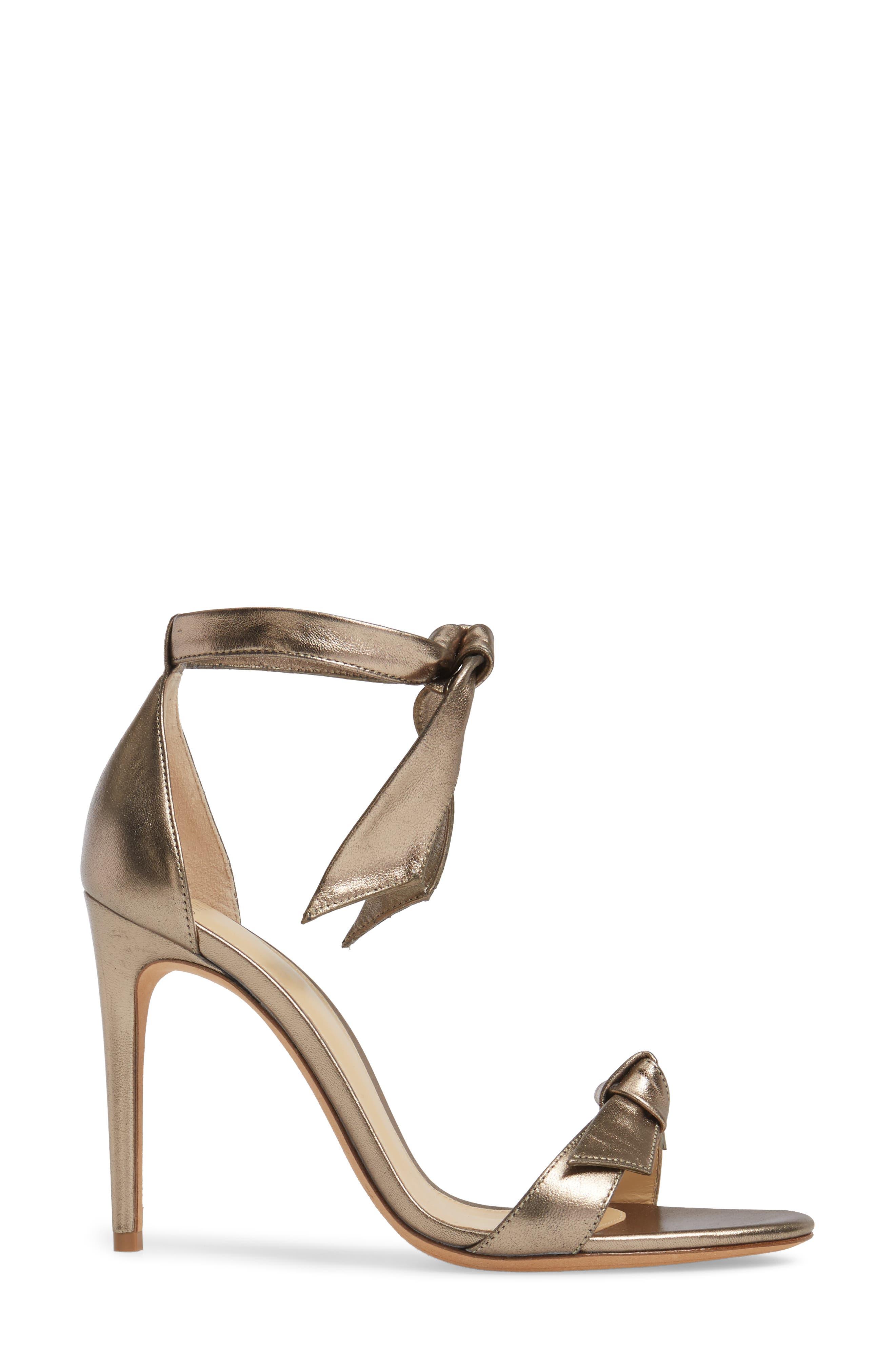 Clarita Ankle Tie Sandal,                             Alternate thumbnail 3, color,                             METALLIC GOLD LEATHER