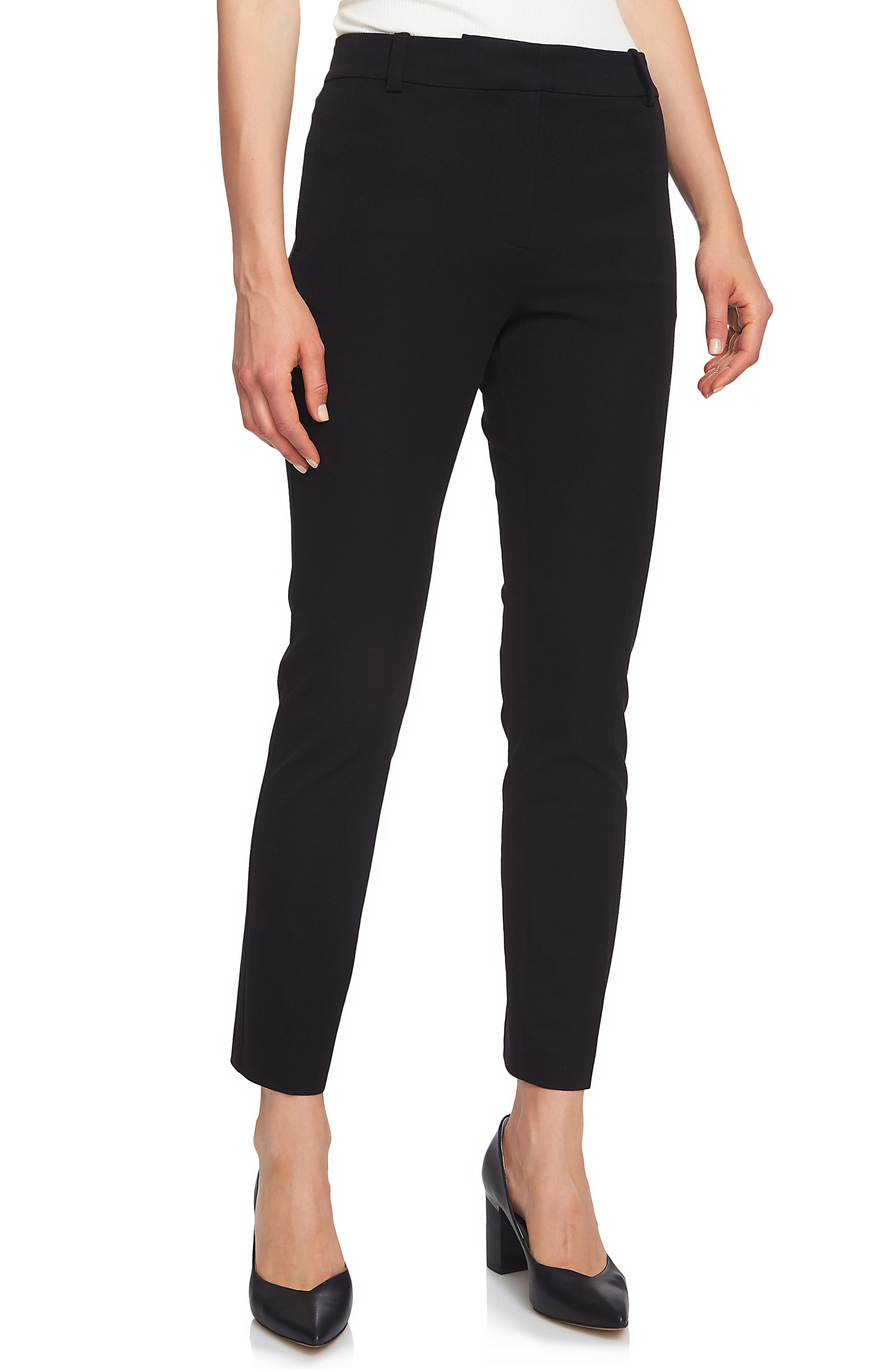 Stretch Twill Slim Ankle Pants,                             Main thumbnail 1, color,                             RICH BLACK