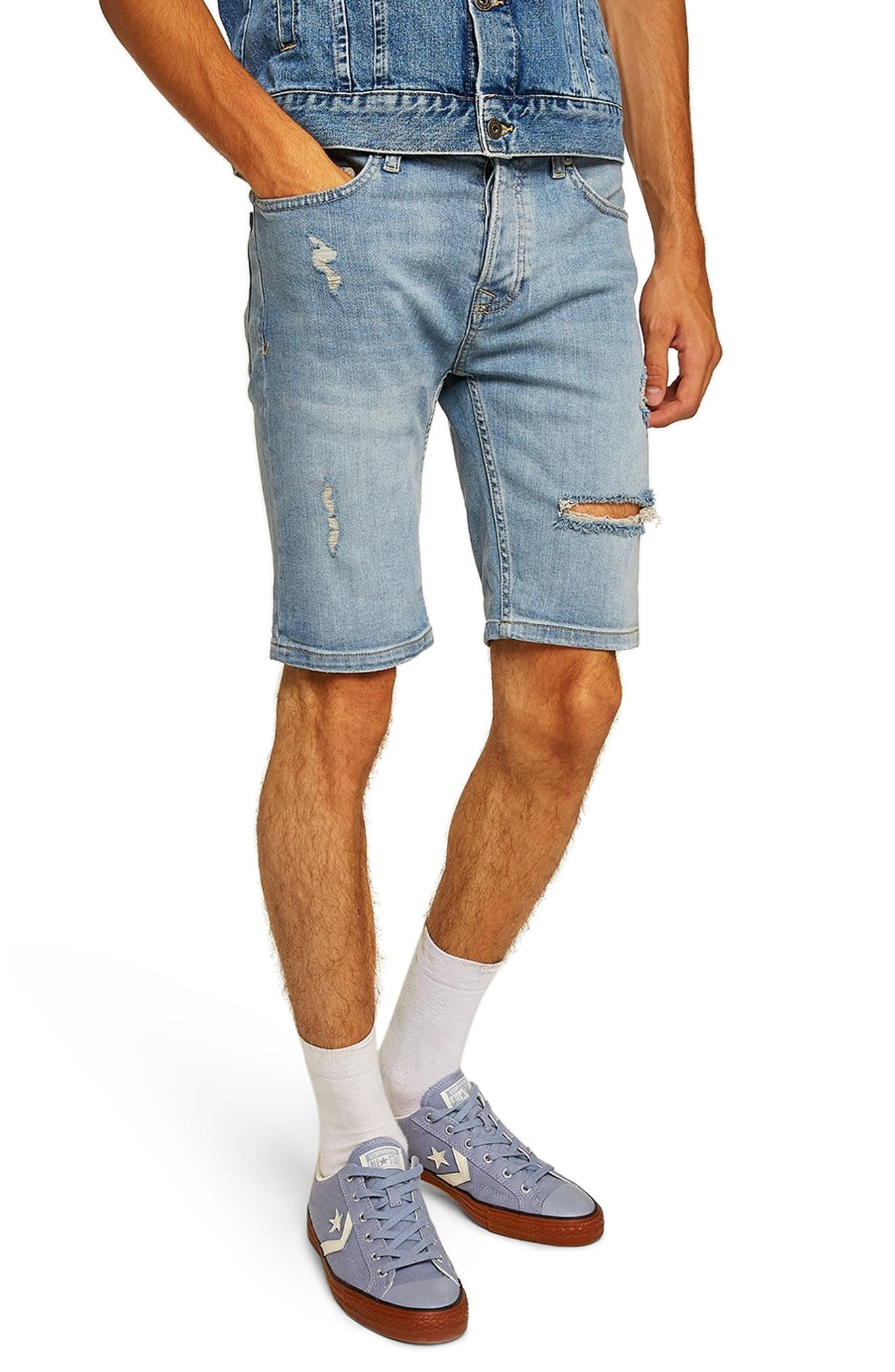Bleach Ripped Skinny Denim Shorts,                             Main thumbnail 1, color,                             400