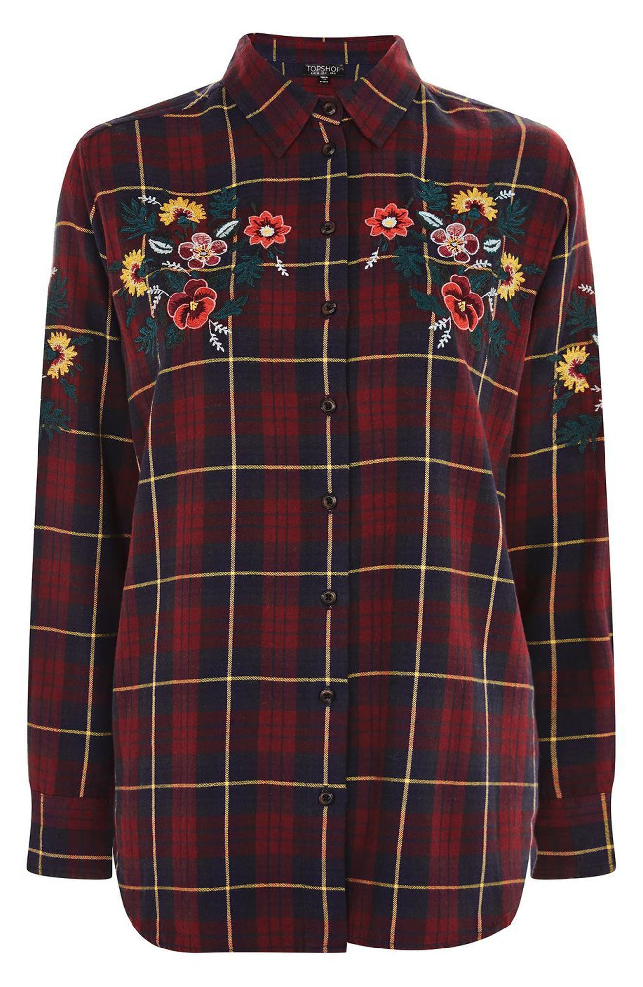 Floral Embroidered Check Shirt,                             Alternate thumbnail 4, color,                             601