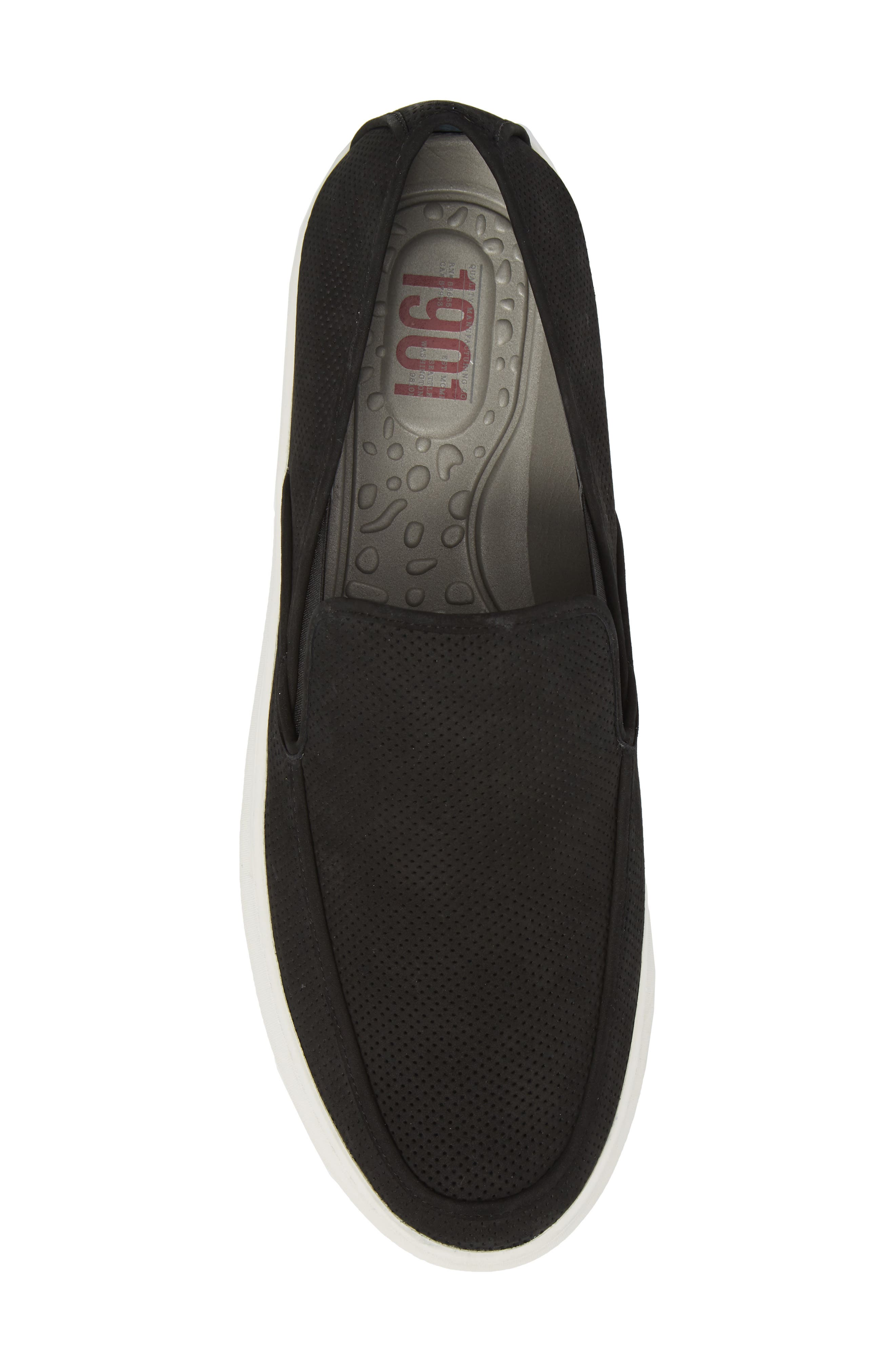 'Venice' Perforated Suede Slip-On,                             Alternate thumbnail 5, color,                             BLACK NUBUCK