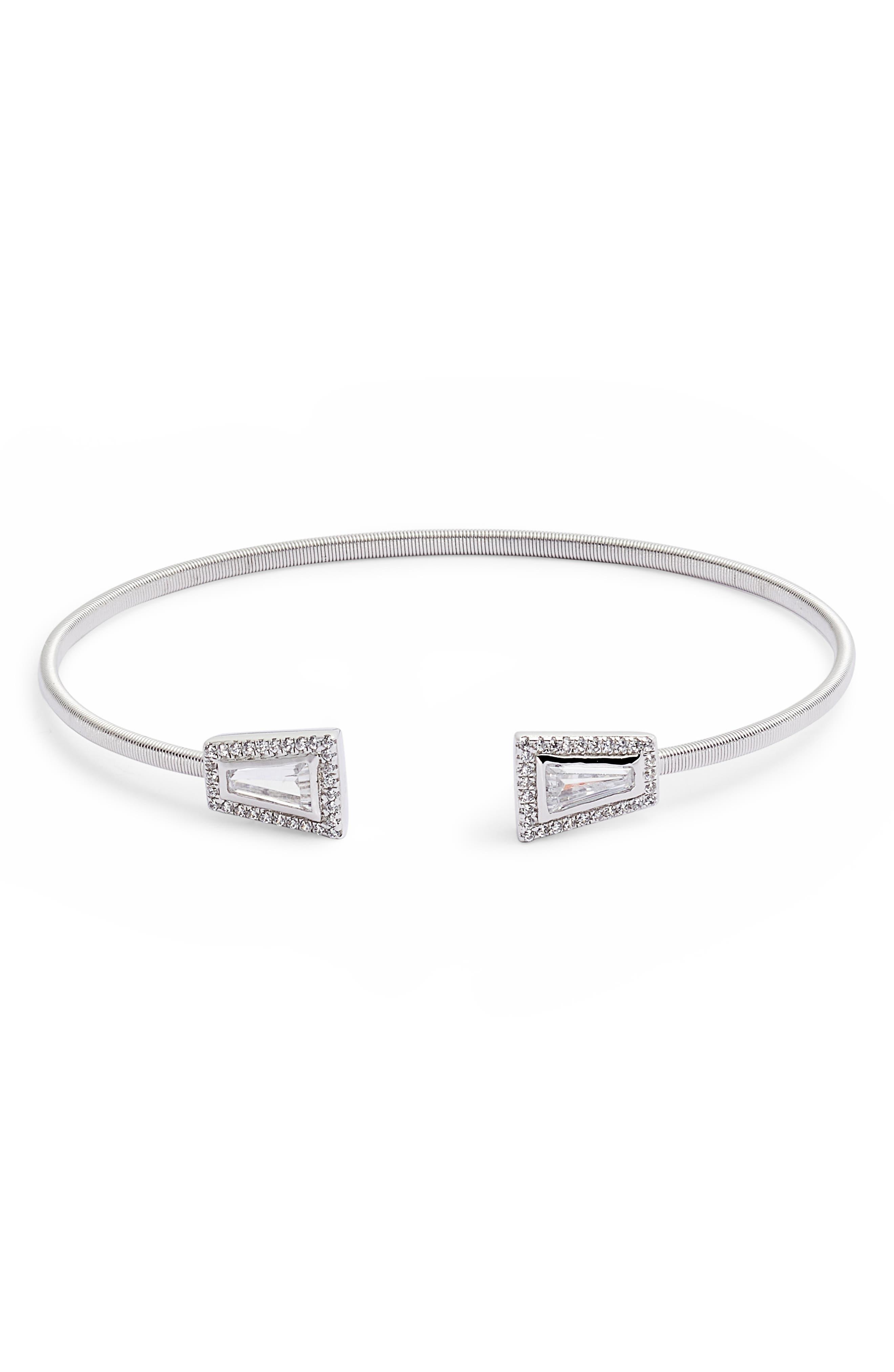 Bezel Cuff Bracelet,                         Main,                         color, SILVER/ CLEAR