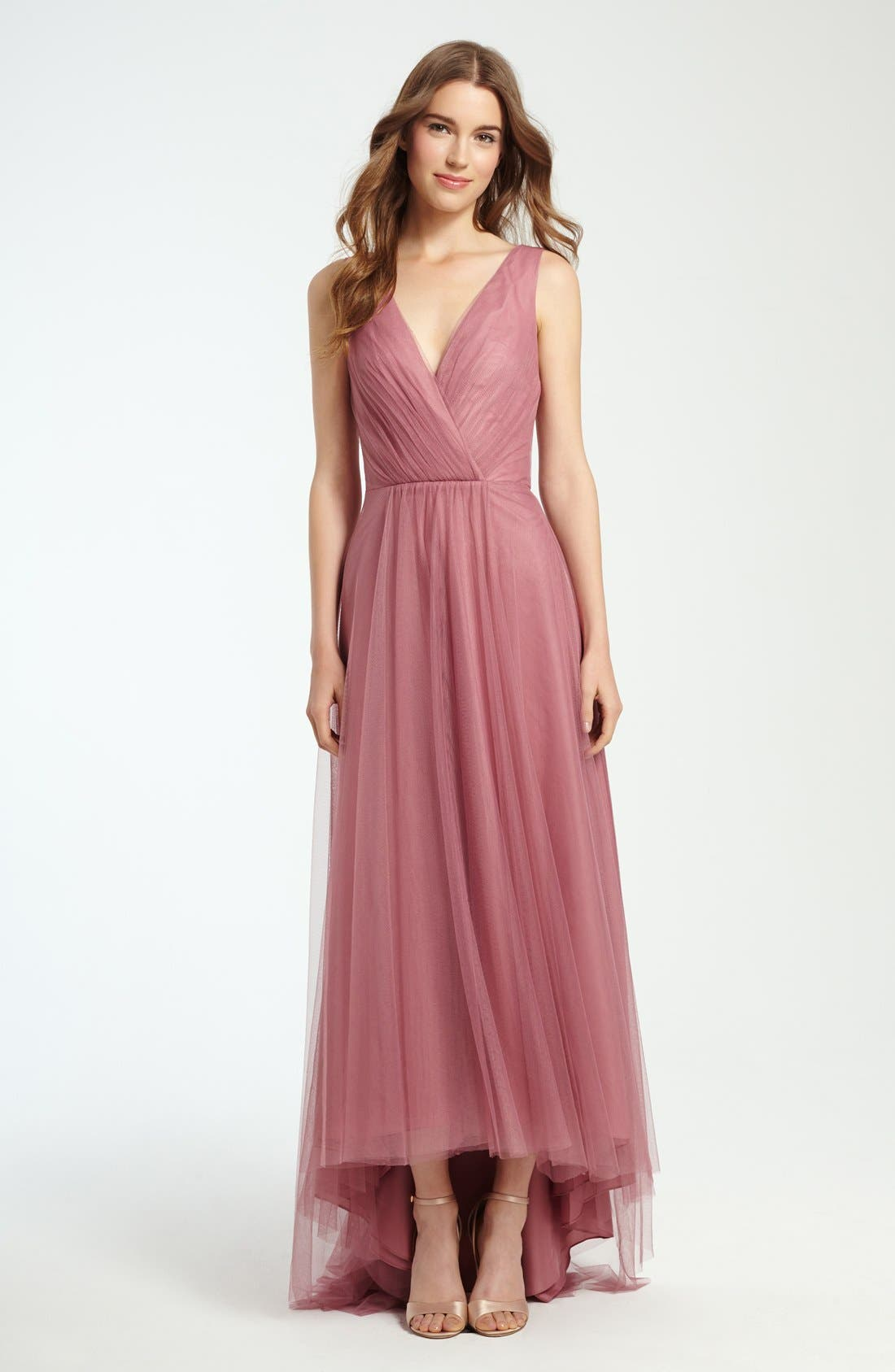 Pleat Tulle V-Neck High/Low Gown,                             Alternate thumbnail 4, color,                             653