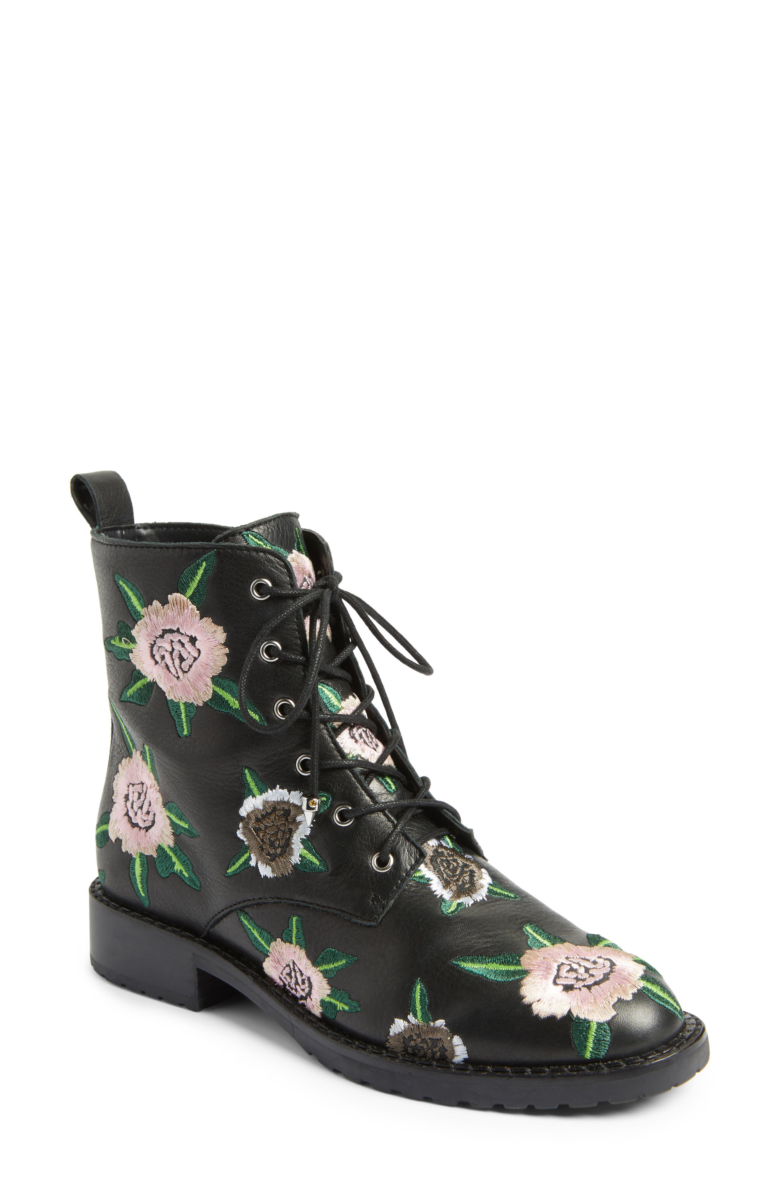 Gerry Embroidered Lace-Up Boot,                             Main thumbnail 1, color,                             001