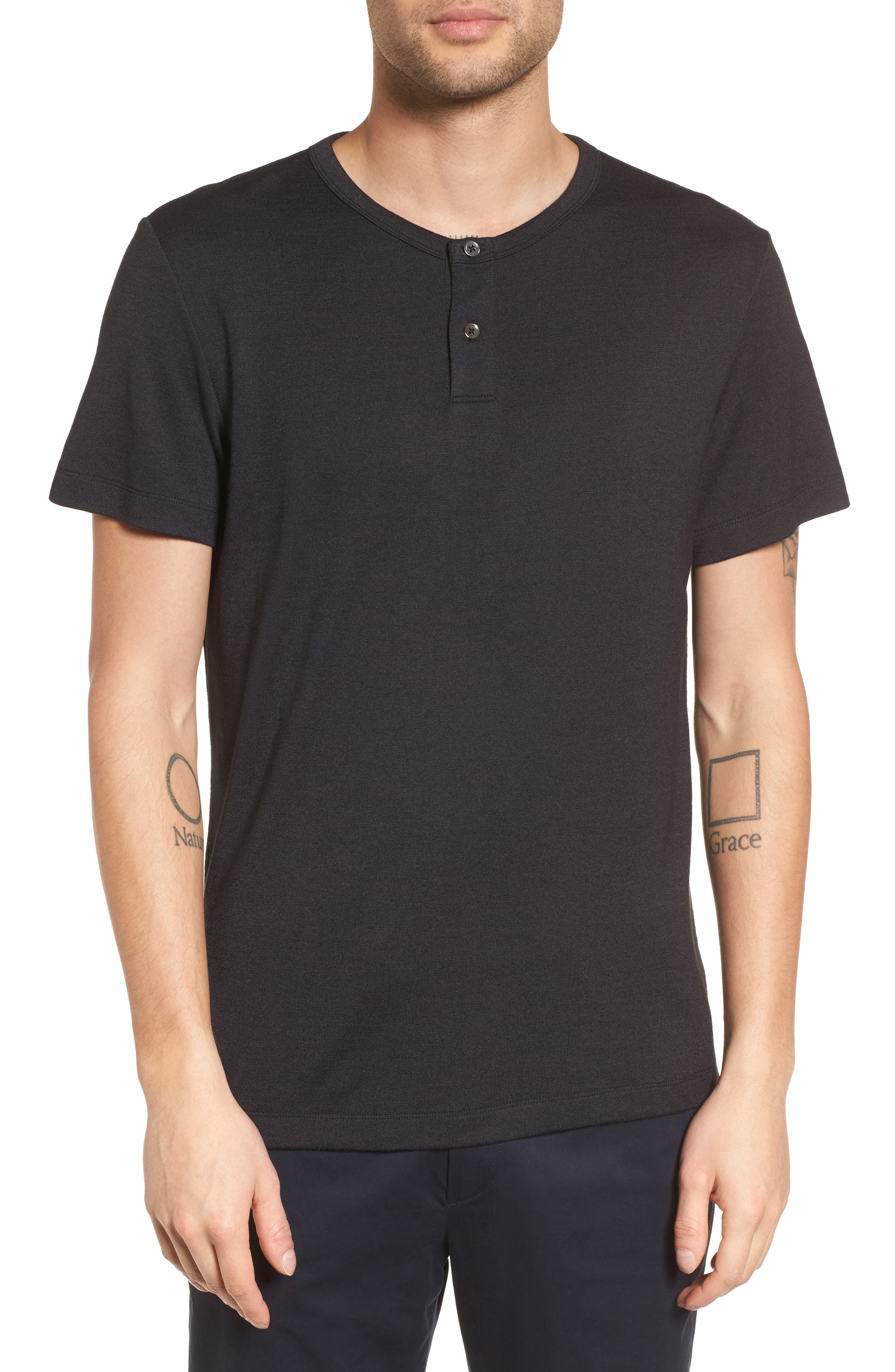 Gaskell Anemone Slim Fit Henley,                             Main thumbnail 1, color,                             001