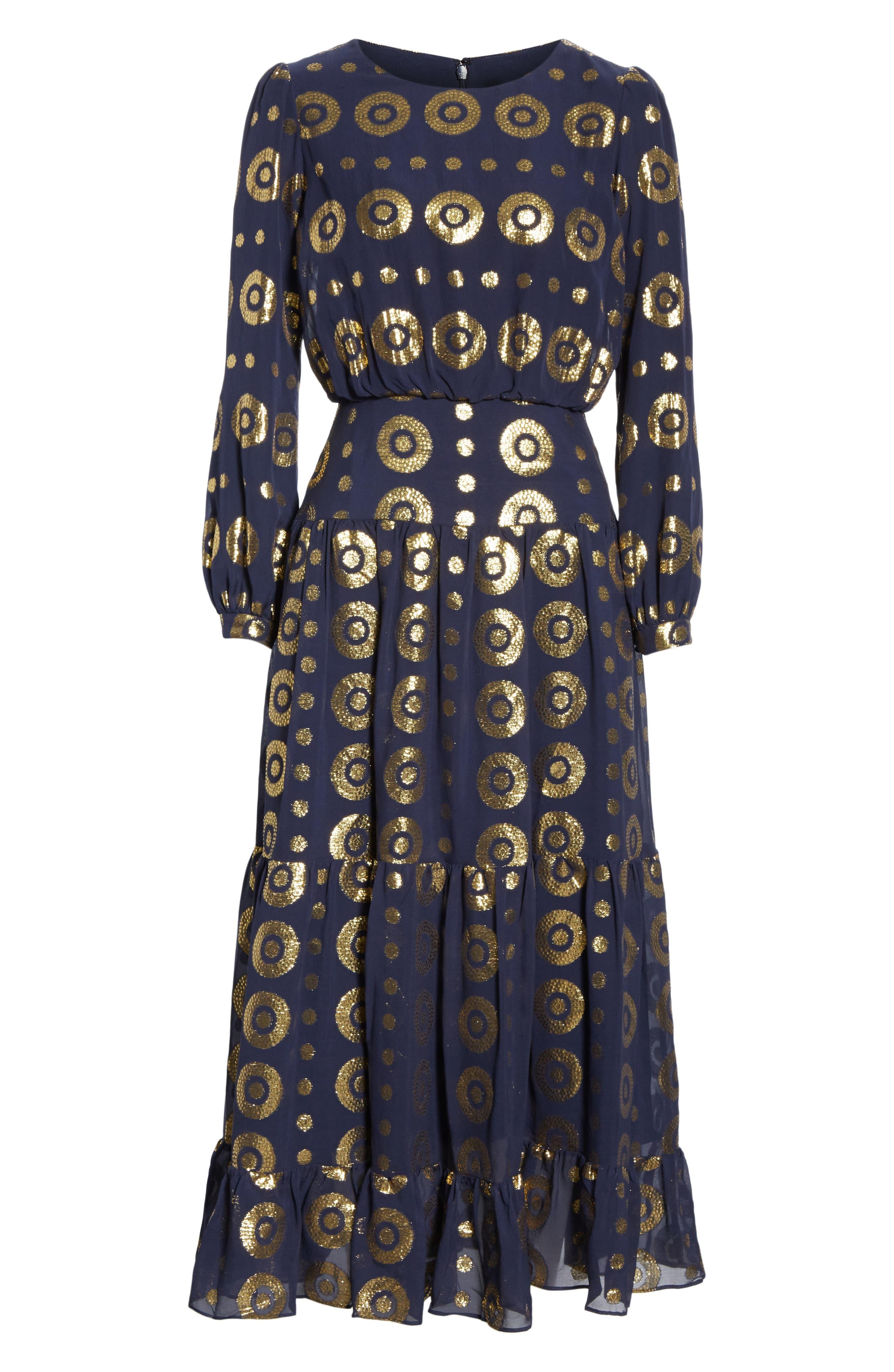 Isabel Fil Coupé Silk Blend Midi Dress,                             Alternate thumbnail 6, color,                             NAVY/ GOLD