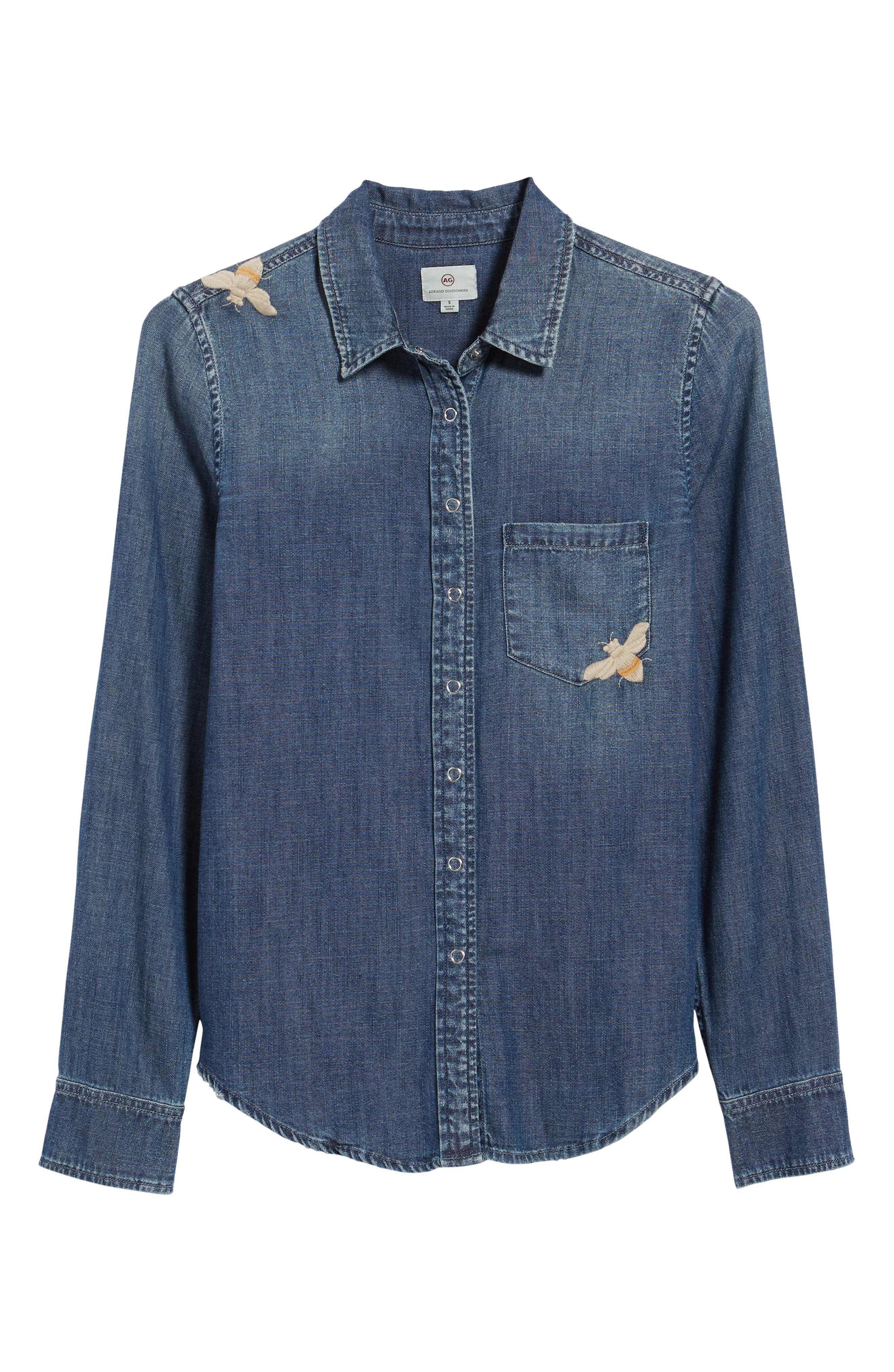 Joanna Embroidered Denim Shirt,                             Alternate thumbnail 6, color,