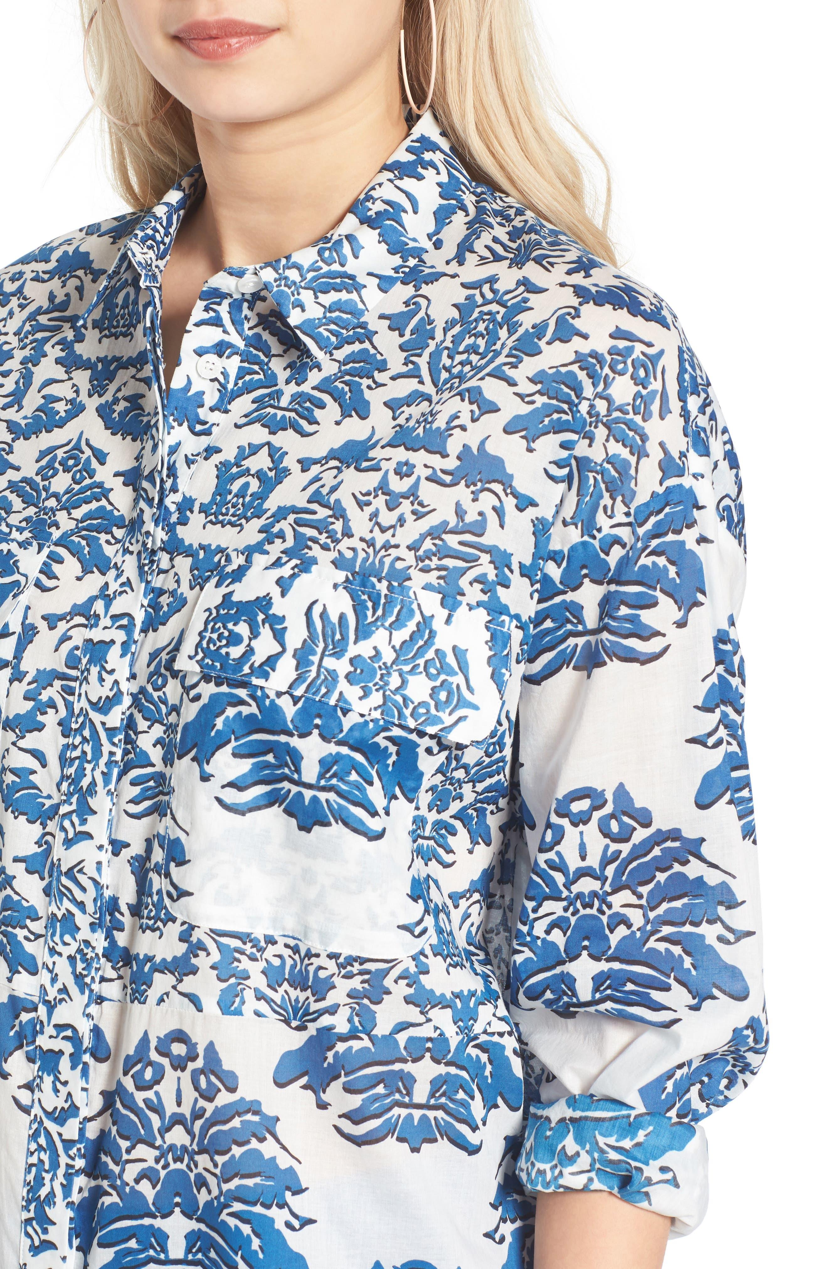 Porcelain Print Oversize Cotton Blouse,                             Alternate thumbnail 4, color,                             468
