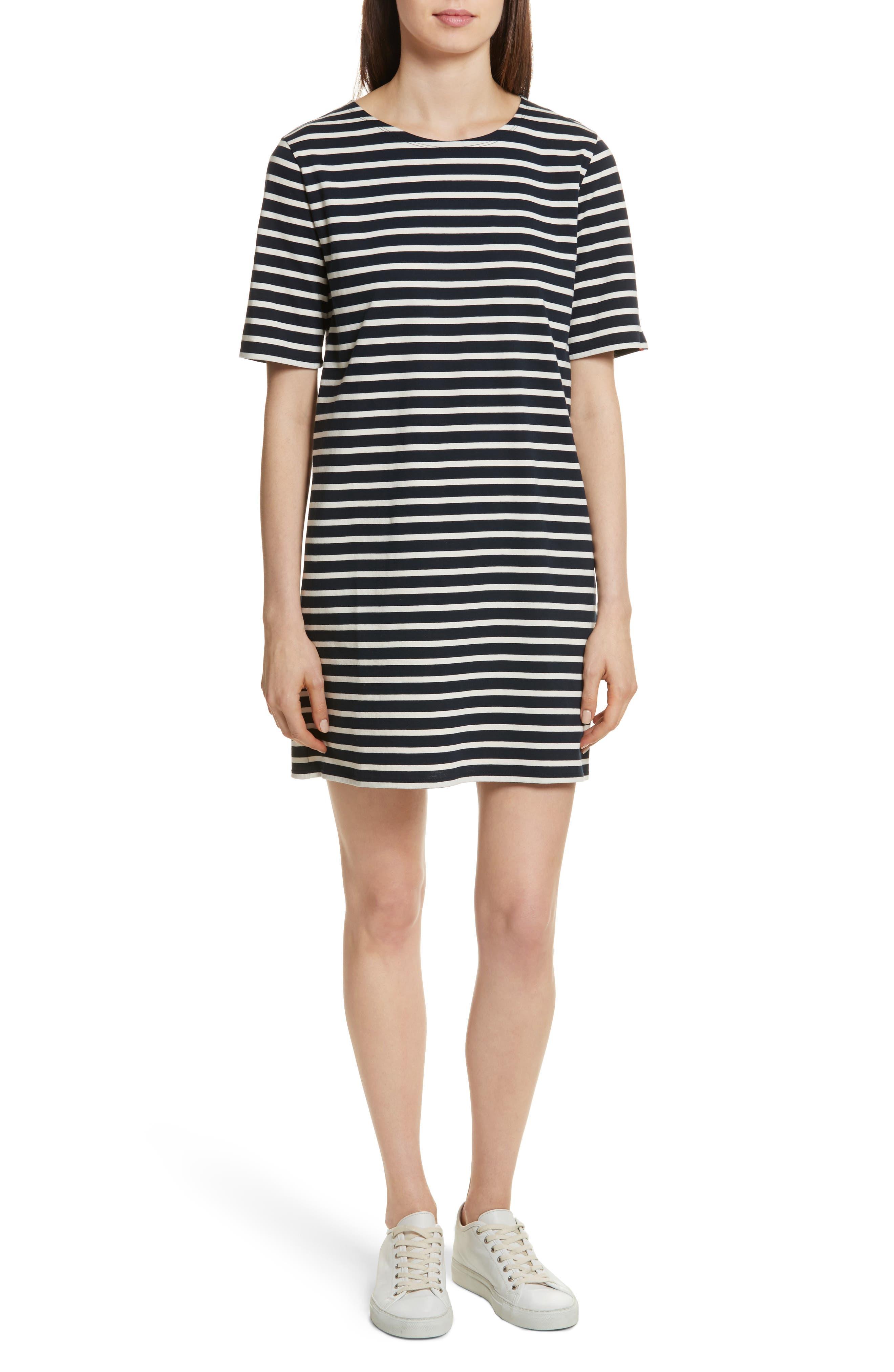 The Tee Stripe Dress,                             Main thumbnail 1, color,                             NAVY/ CREAM