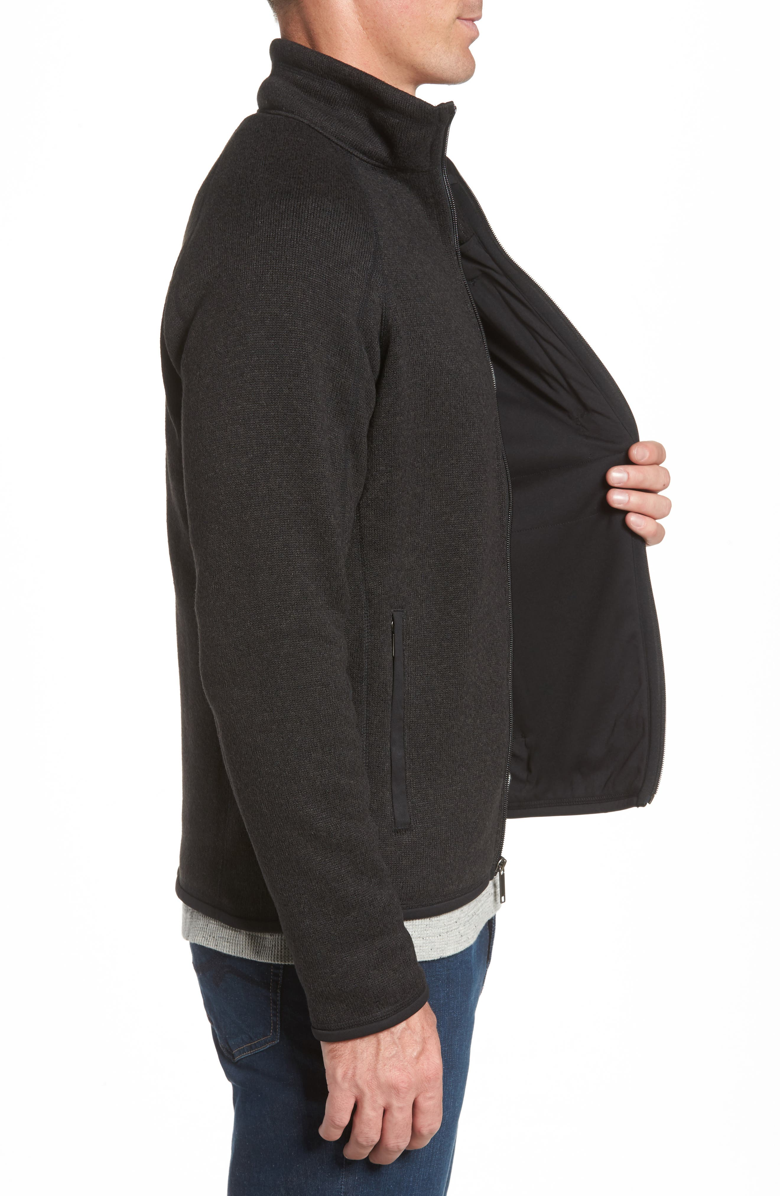 Better Sweater Zip Front Jacket,                             Alternate thumbnail 3, color,                             BLACK