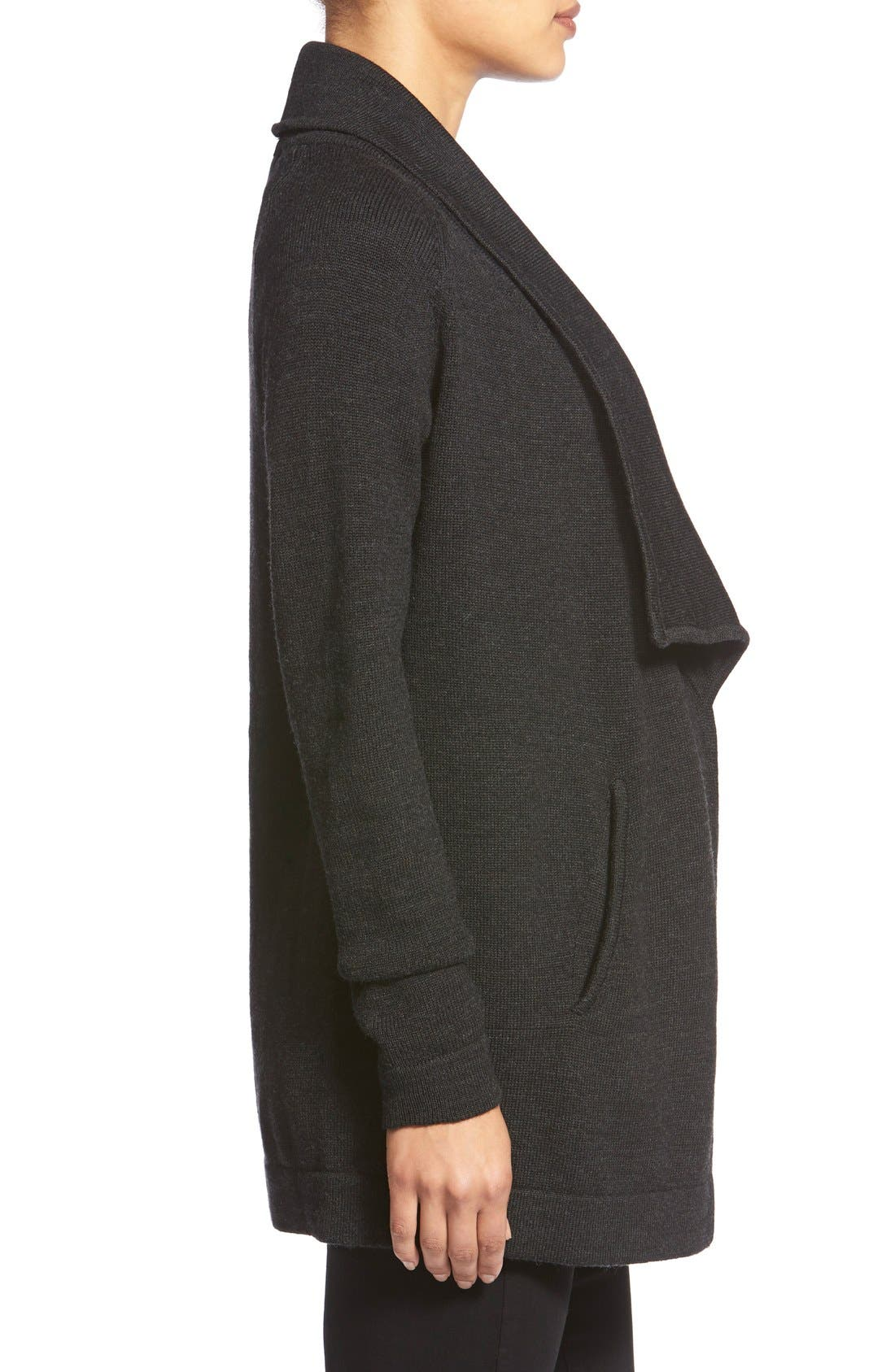 TART MATERNITY,                             'Bain' Open Front Maternity Cardigan,                             Alternate thumbnail 3, color,                             HEATHERED BLACK