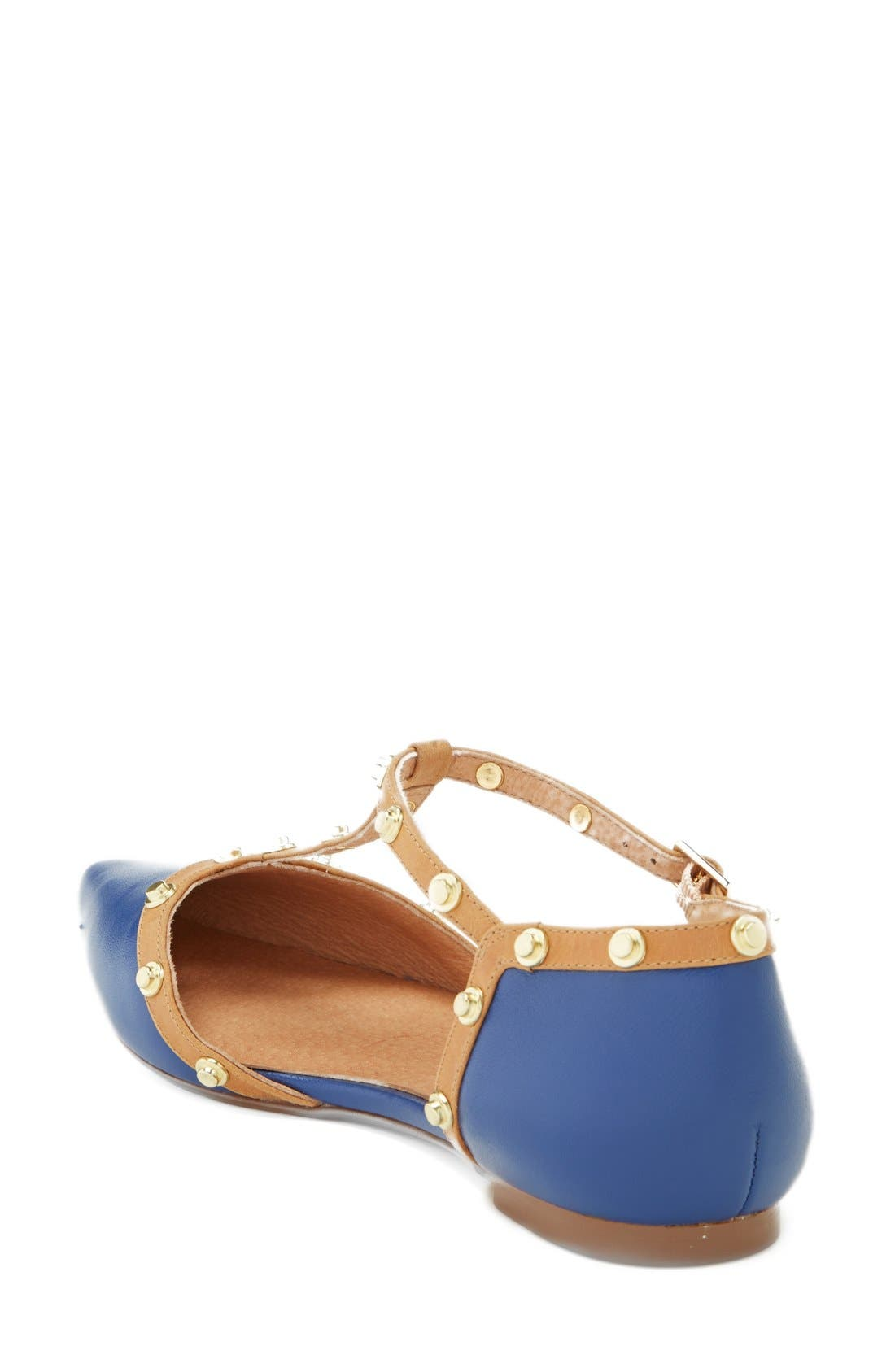 'Olson' Pointy Toe Studded T-Strap Flat,                             Alternate thumbnail 27, color,