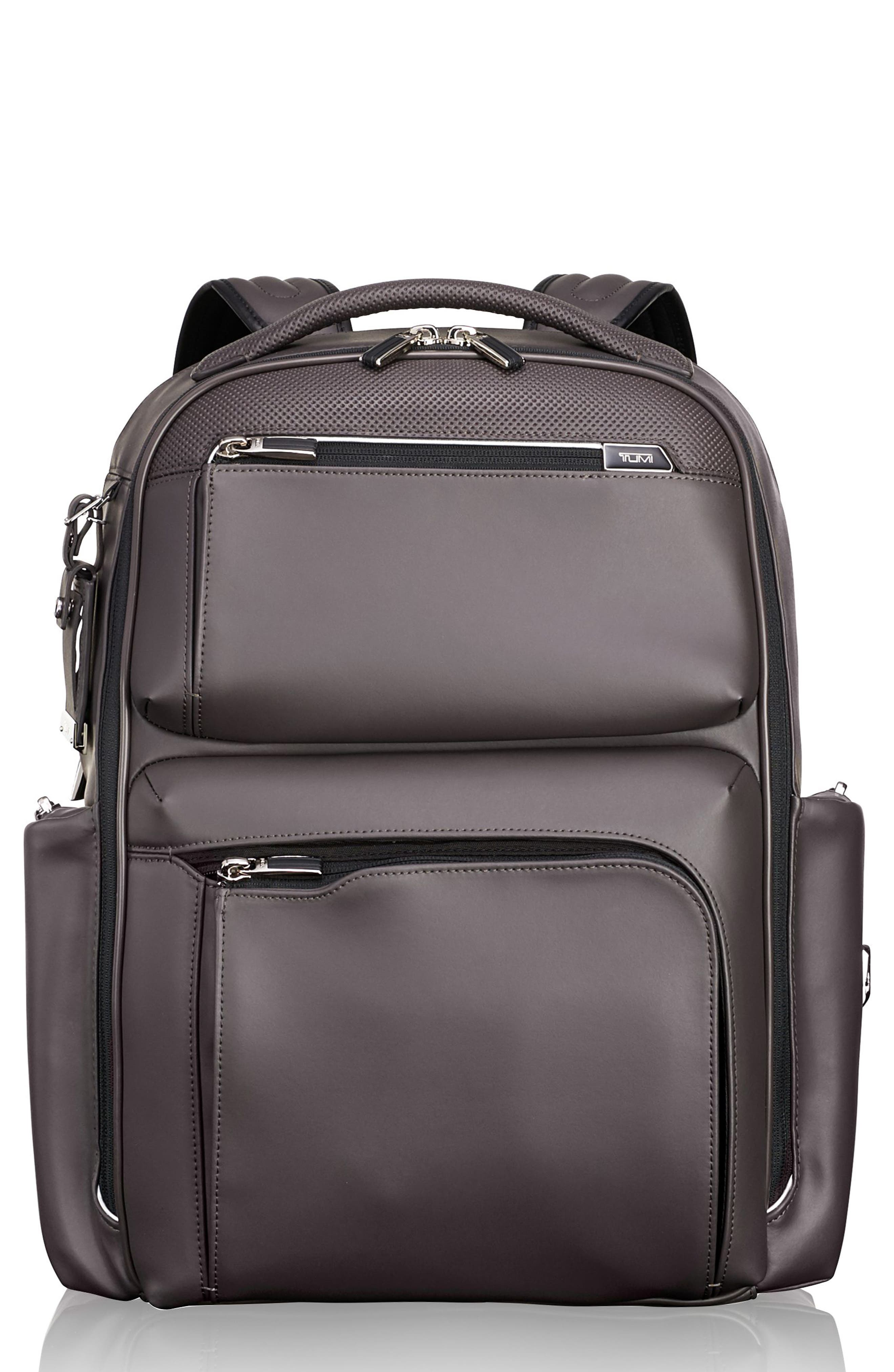 Arrivé - Bradley Leather Backpack,                             Main thumbnail 1, color,                             TAUPE